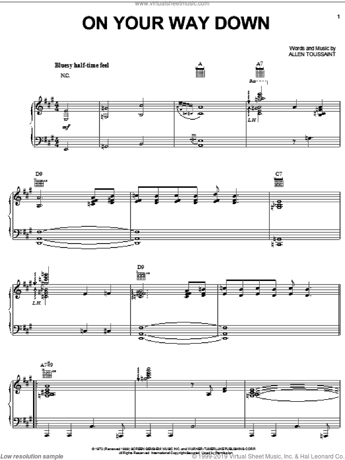 On Your Way Down sheet music for voice, piano or guitar by Elvis Costello & Allen Toussaint
