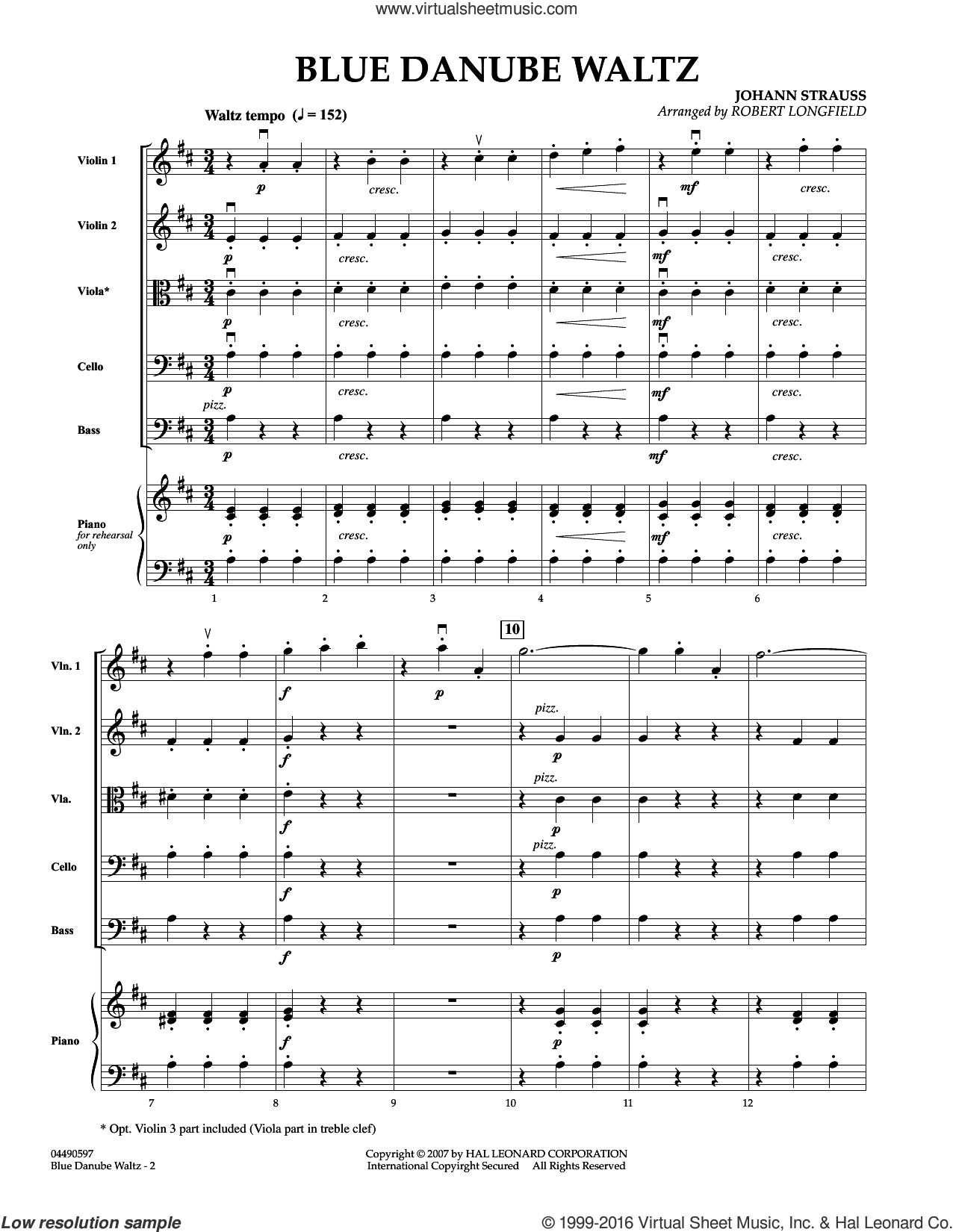 Blue Danube Waltz sheet music for orchestra (full score) by Robert Longfield and Johann Strauss, Jr.. Score Image Preview.