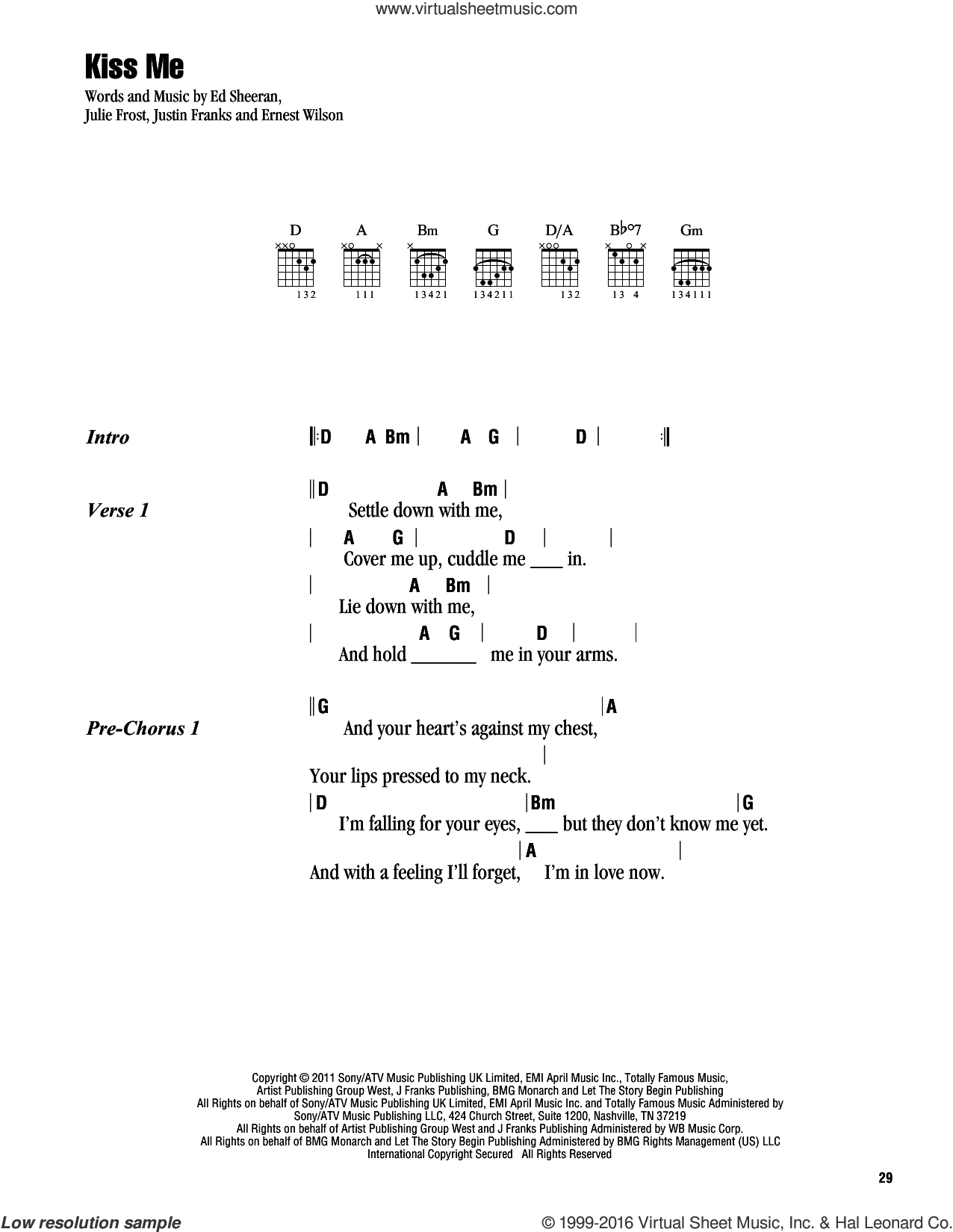 Kiss Me sheet music for guitar (chords) by Justin Franks, Ed Sheeran and Julie Frost. Score Image Preview.