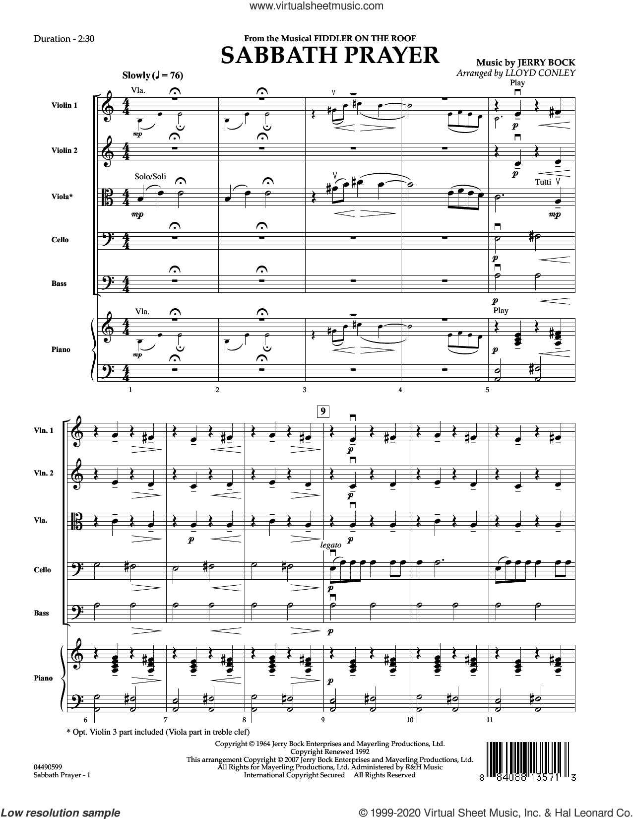 Sabbath Prayer (COMPLETE) sheet music for orchestra by Sheldon Harnick, Jerry Bock and Lloyd Conley, intermediate skill level