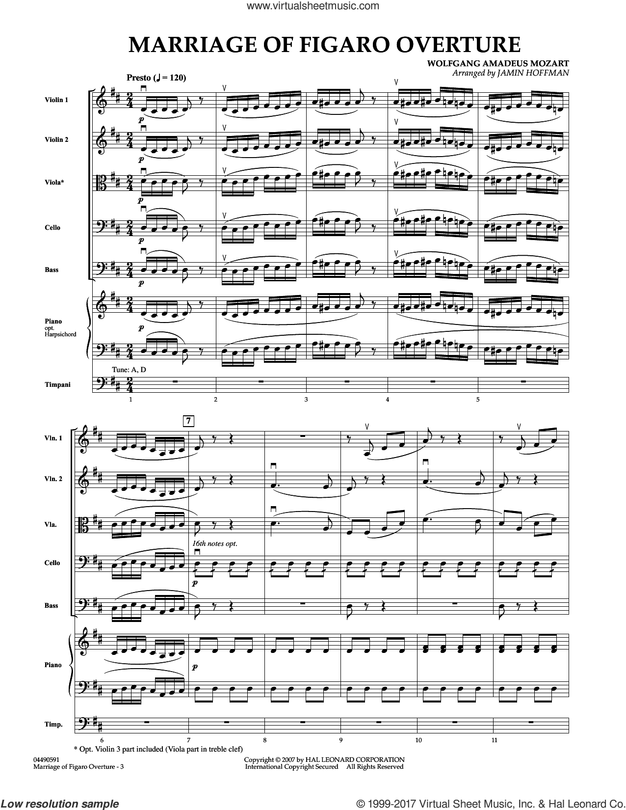 Overture to Marriage of Figaro (COMPLETE) sheet music for orchestra by Wolfgang Amadeus Mozart and Jamin Hoffman, classical score, intermediate. Score Image Preview.