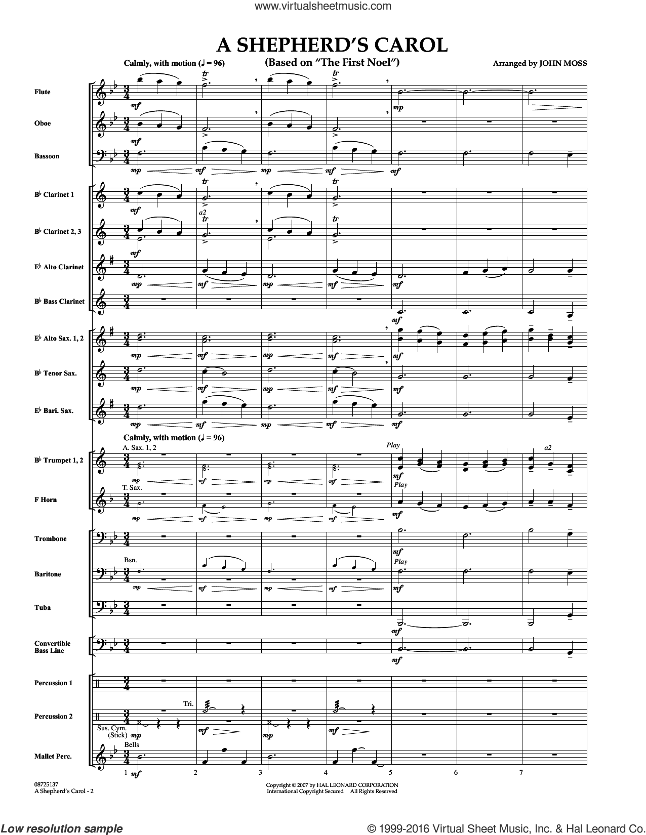 A Shepherd's Carol (Based On The First Noel) (COMPLETE) sheet music for concert band by John Moss. Score Image Preview.