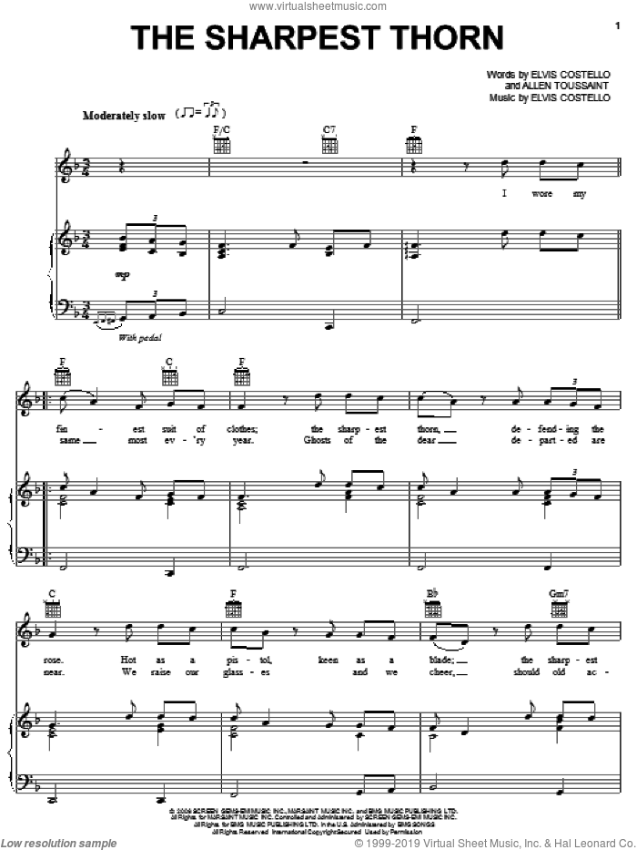 The Sharpest Thorn sheet music for voice, piano or guitar by Elvis Costello & Allen Toussaint, Allen Toussaint and Elvis Costello, intermediate. Score Image Preview.