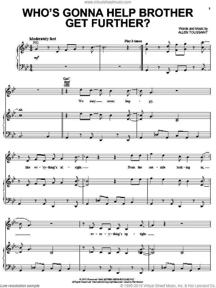 Who's Gonna Help Brother Get Further? sheet music for voice, piano or guitar by Elvis Costello & Allen Toussaint