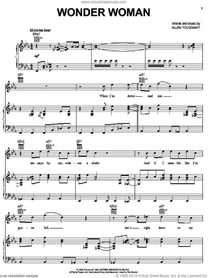 Wonder Woman sheet music for voice, piano or guitar by Elvis Costello & Allen Toussaint, Elvis Costello and Allen Toussaint, intermediate skill level