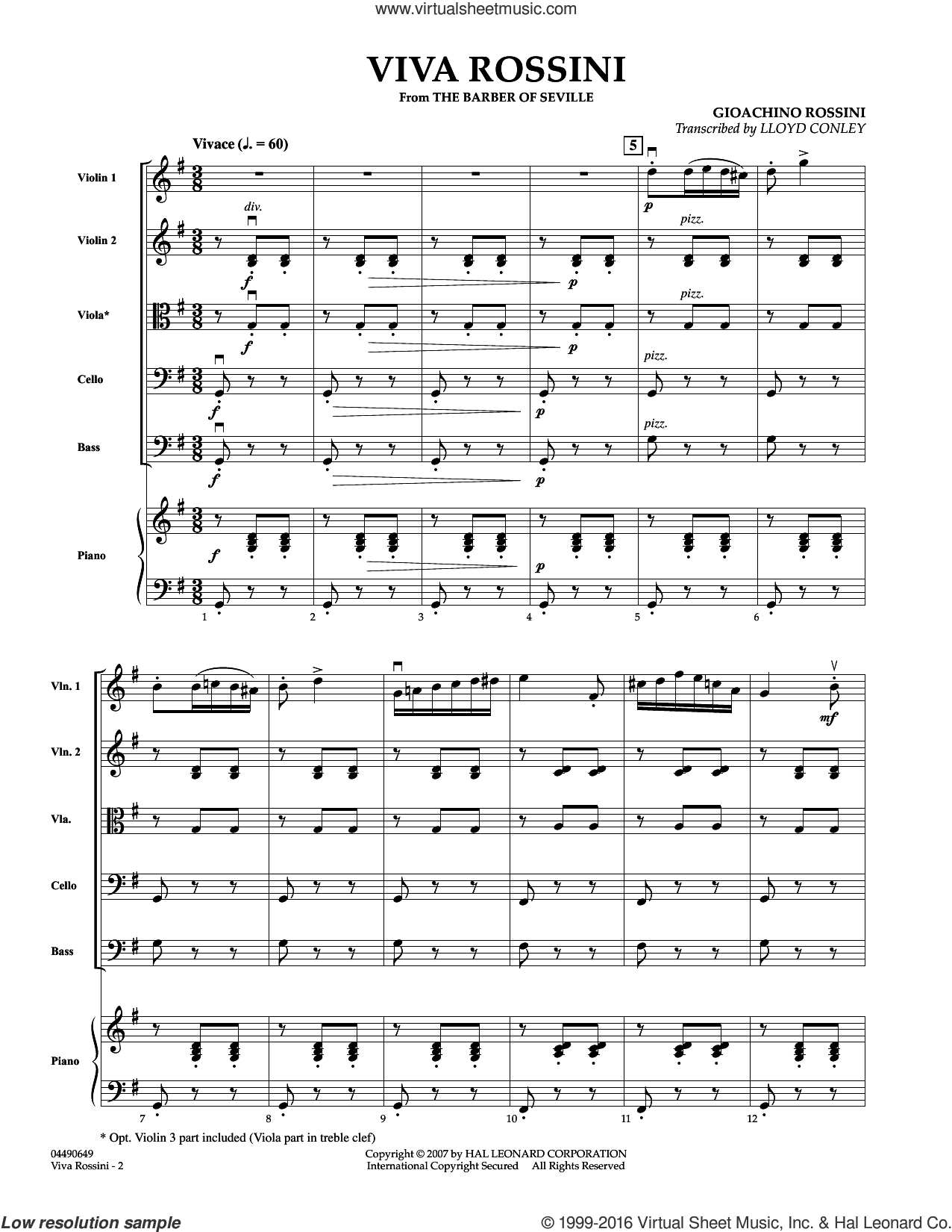Viva Rossini (from The Barber Of Seville) sheet music for orchestra (full score) by Lloyd Conley and Gioacchino Rossini. Score Image Preview.