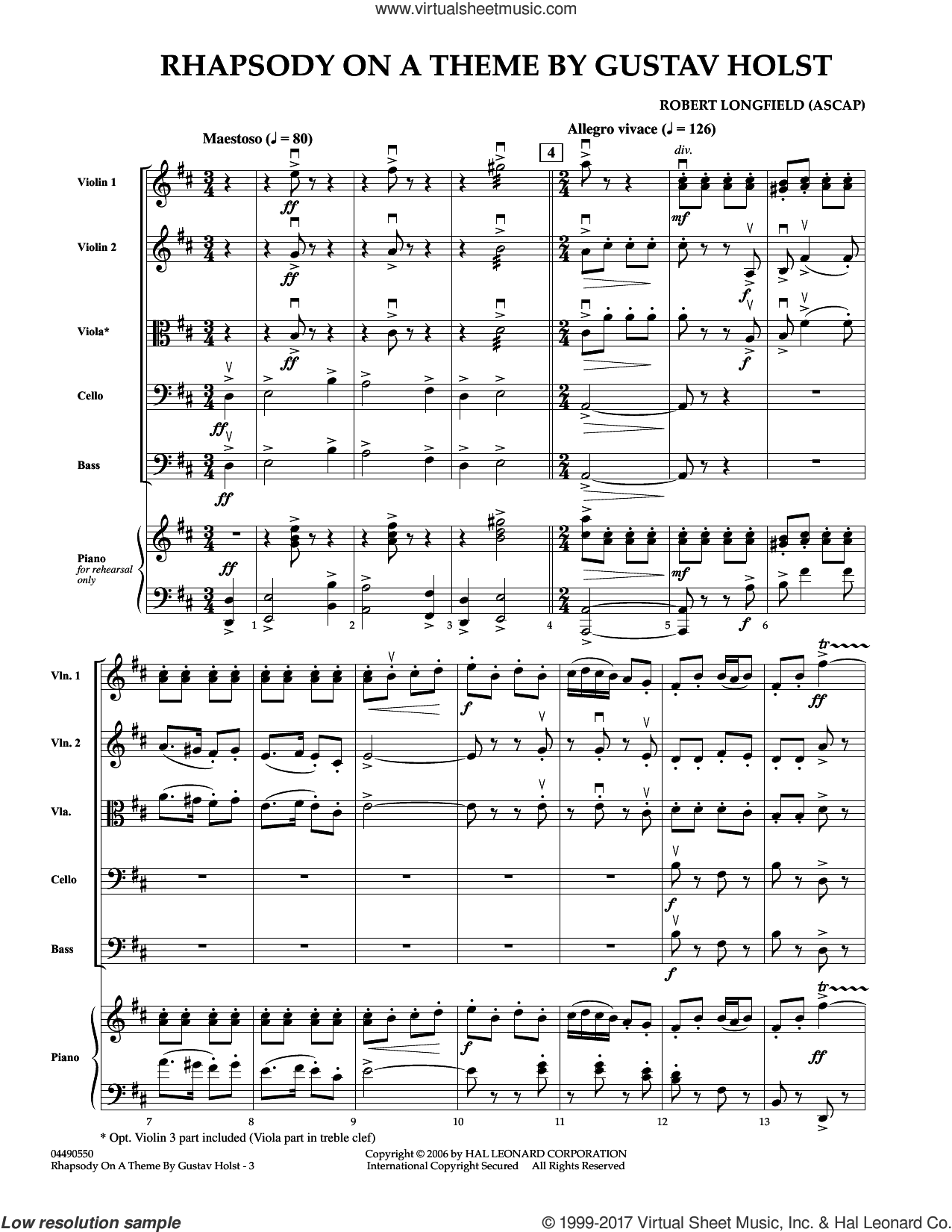 Rhapsody On A Theme by Gustav Holst (COMPLETE) sheet music for orchestra by Robert Longfield and Gustav Holst, classical score, intermediate skill level