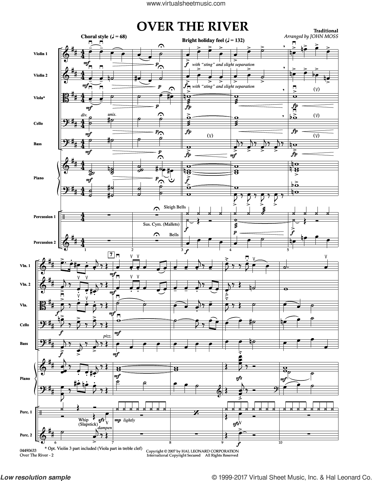 Over The River (COMPLETE) sheet music for orchestra by John Moss, Christmas carol score, intermediate orchestra. Score Image Preview.
