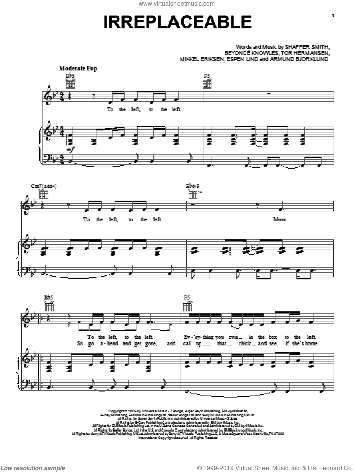 Irreplaceable sheet music for voice, piano or guitar by Beyonce, Amund Bjorklund, Espen Lind, Mikkel Eriksen, Shaffer Smith and Tor Erik Hermansen, intermediate skill level