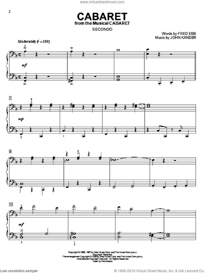 Cabaret sheet music for piano four hands (duets) by Kander & Ebb, Fred Ebb and John Kander. Score Image Preview.