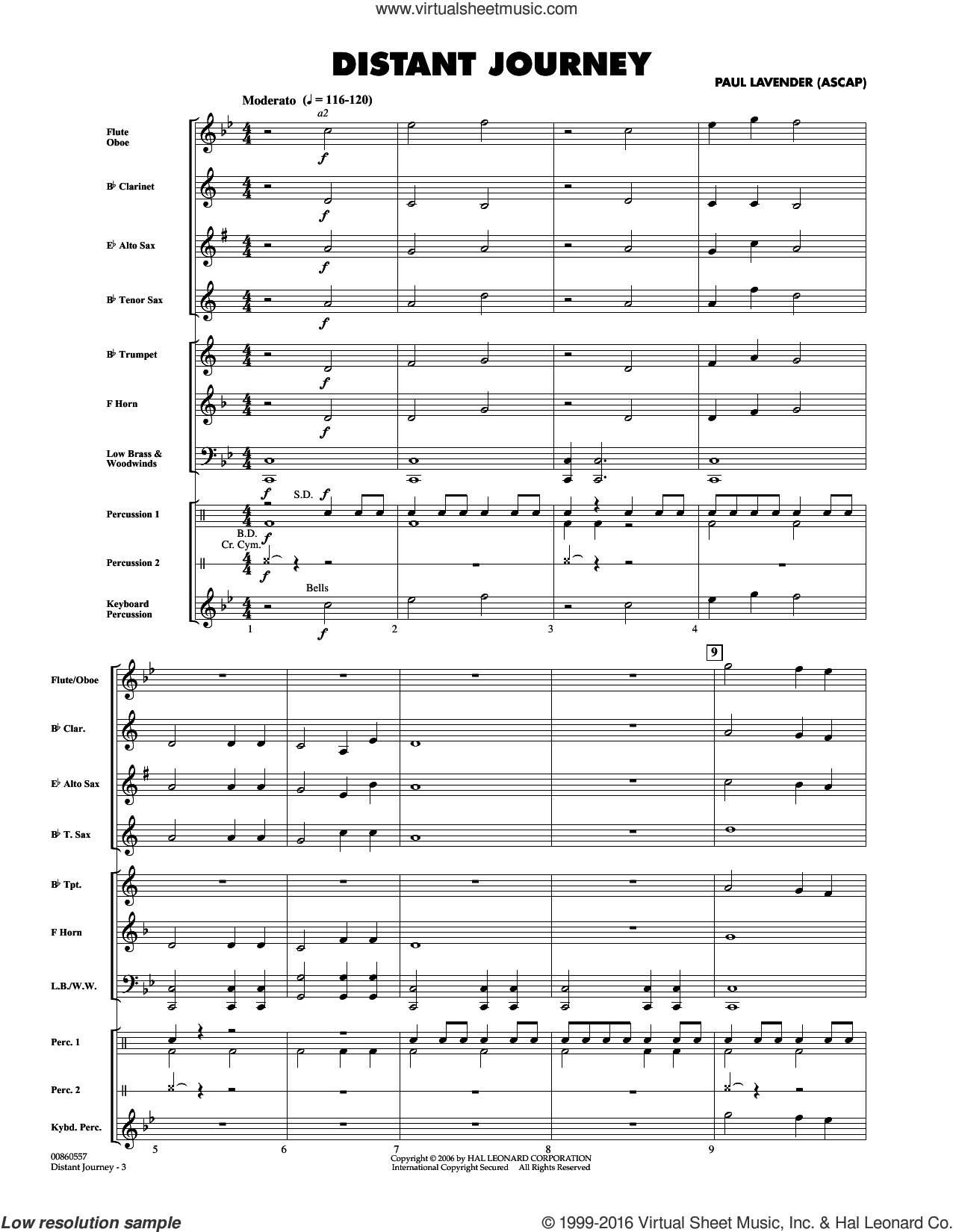 Distant Journey (COMPLETE) sheet music for concert band by Paul Lavender, intermediate. Score Image Preview.