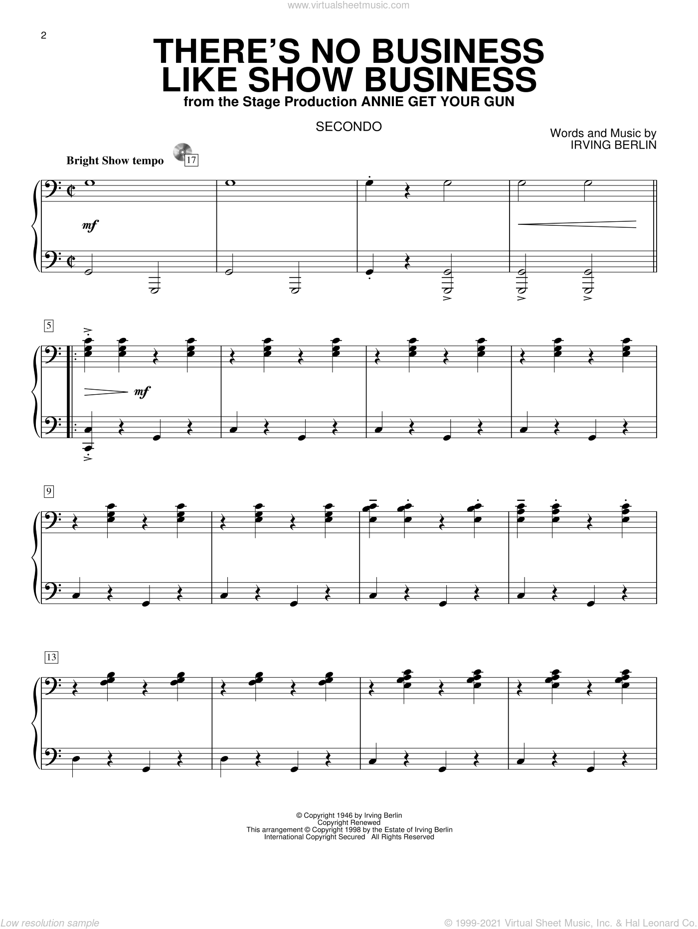 There's No Business Like Show Business sheet music for piano four hands by Irving Berlin and Annie Get Your Gun (Musical), intermediate skill level