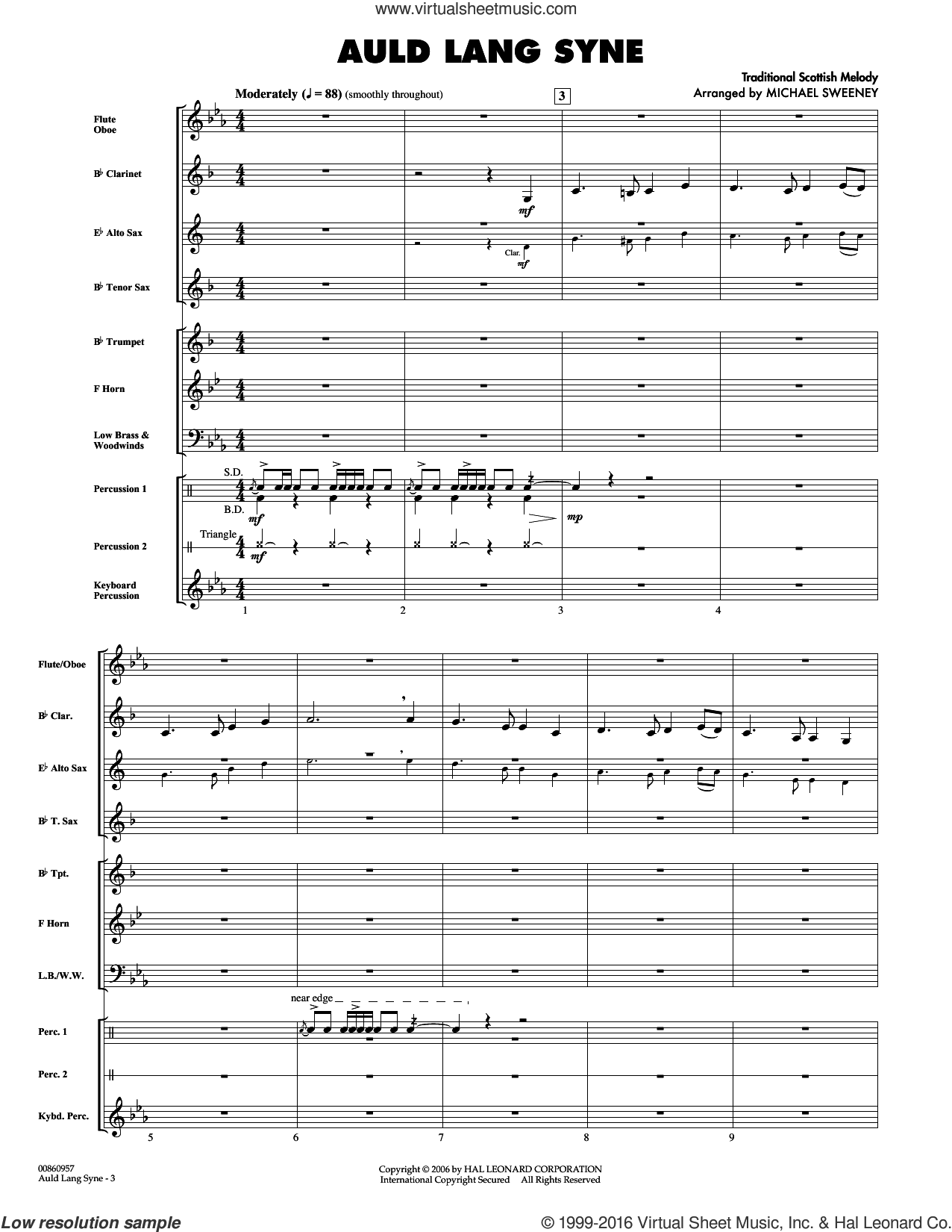 Auld Lang Syne sheet music for concert band (full score) by Robert Burns and Michael Sweeney. Score Image Preview.