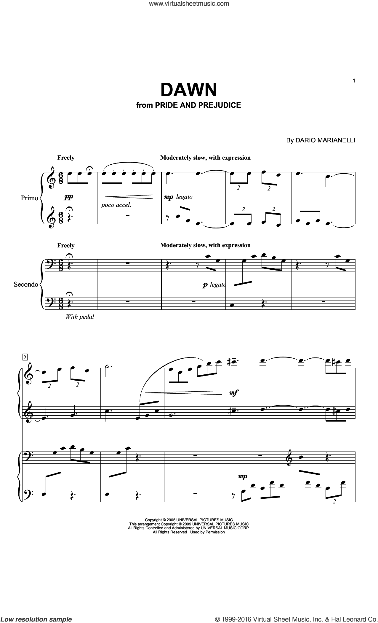 Dawn sheet music for piano four hands by Dario Marianelli, intermediate skill level