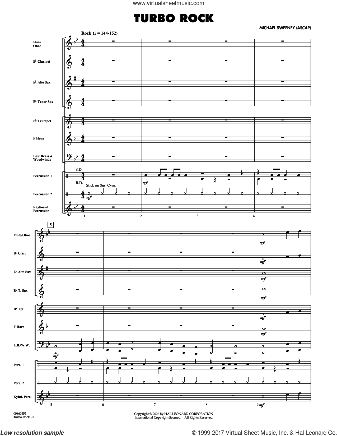 Turbo Rock (COMPLETE) sheet music for concert band by Michael Sweeney, intermediate skill level