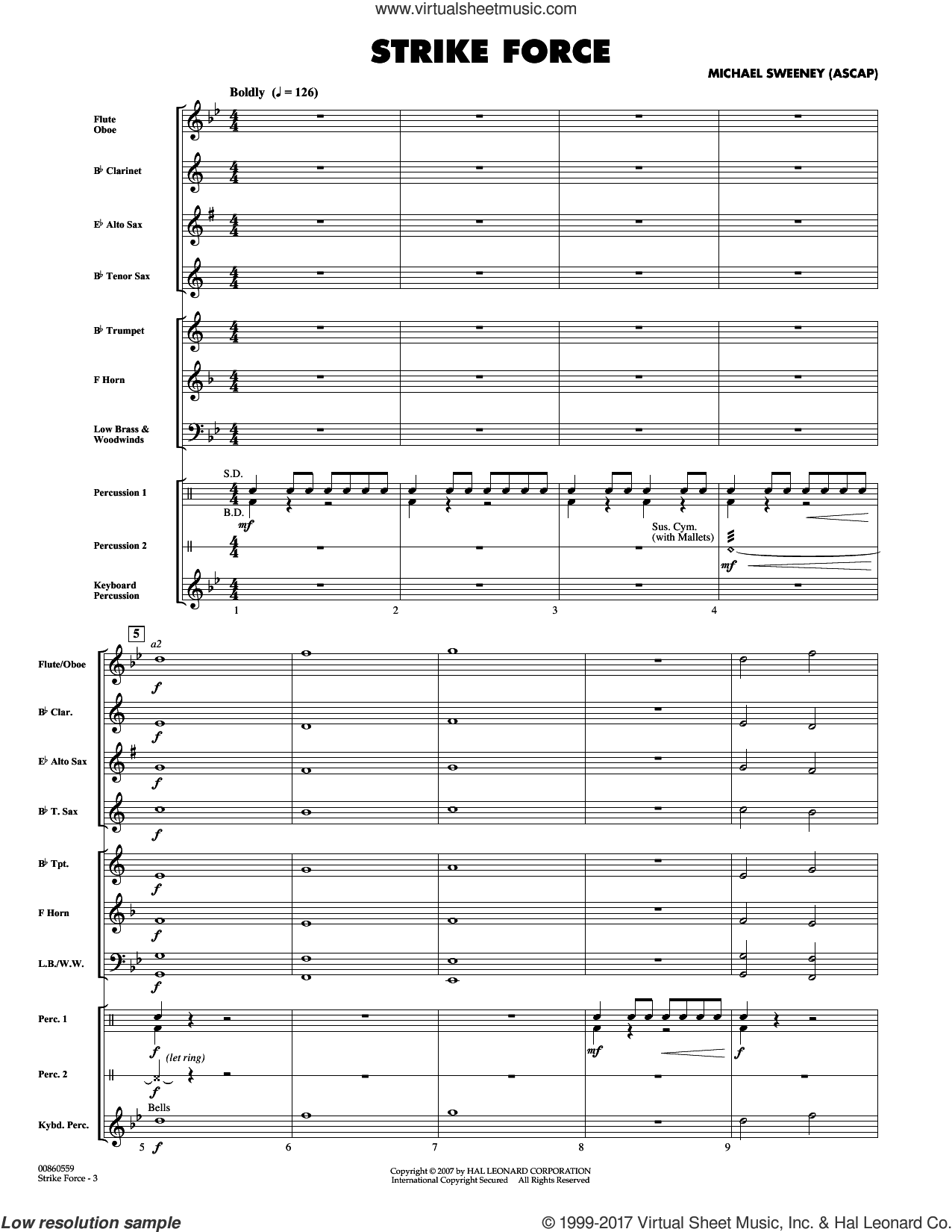 Strike Force (COMPLETE) sheet music for concert band by Michael Sweeney, intermediate concert band. Score Image Preview.