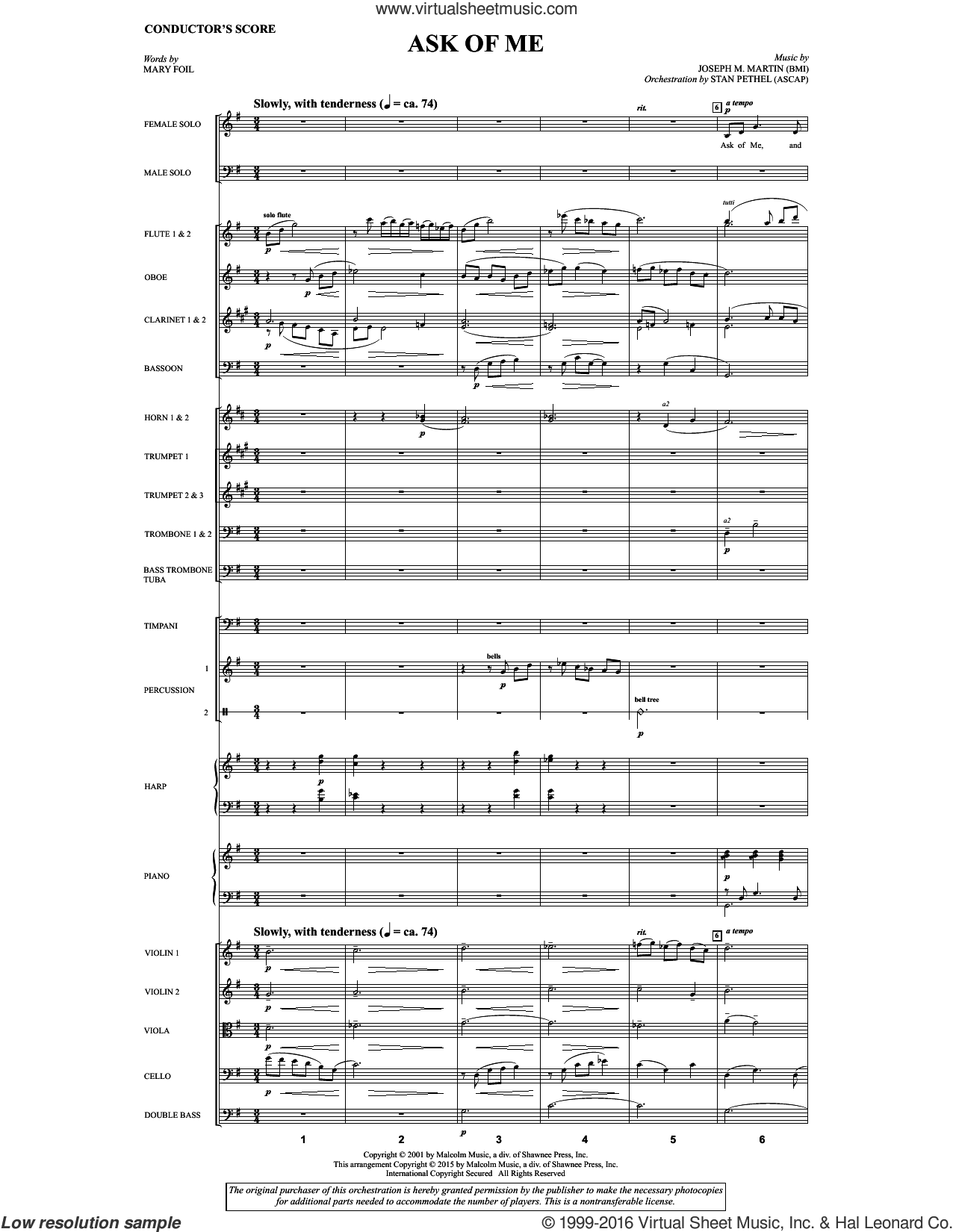 Ask of Me sheet music for orchestra/band (full score) by Mary Foil and Douglas Nolan. Score Image Preview.
