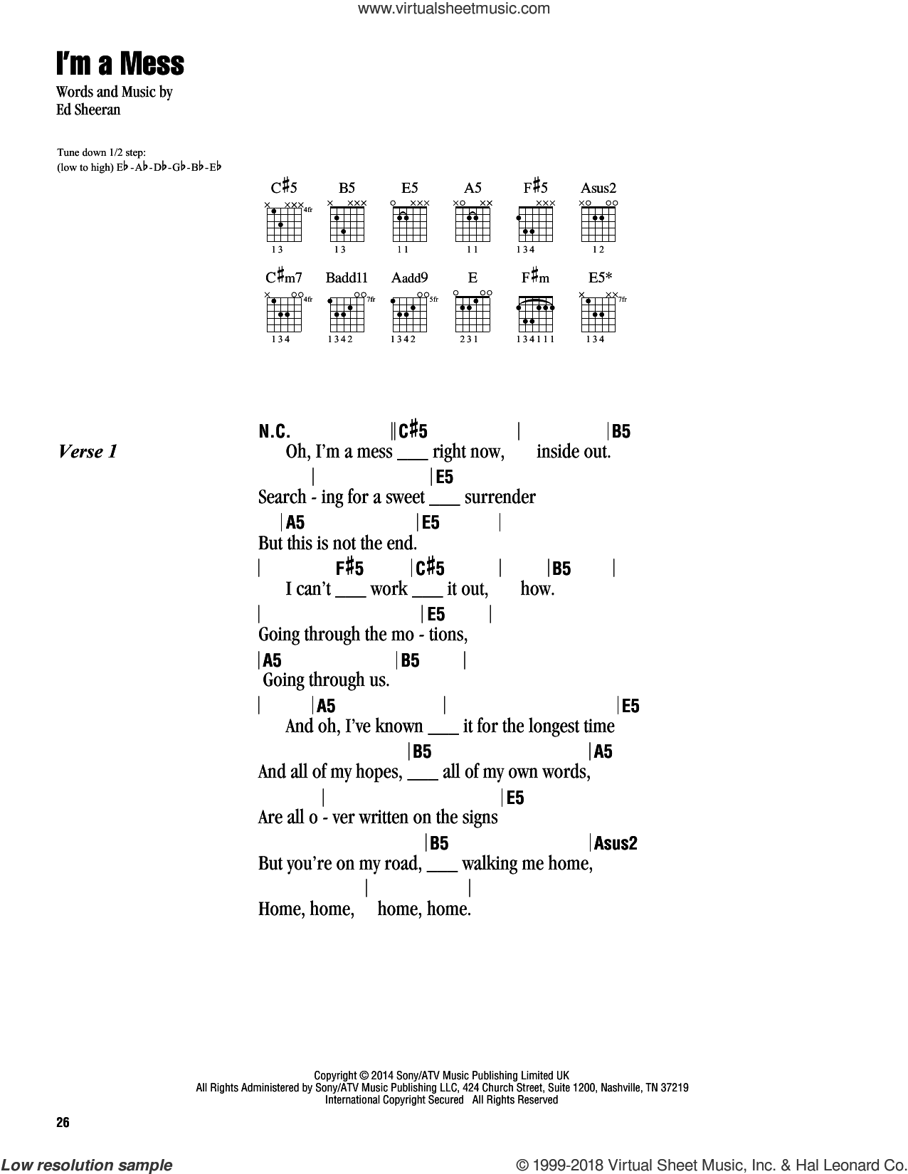 I'm A Mess sheet music for guitar (chords) by Ed Sheeran. Score Image Preview.