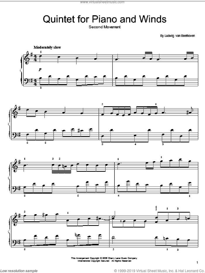 Quintet For Piano And Winds: Andante sheet music for piano solo (chords) by Ludwig van Beethoven