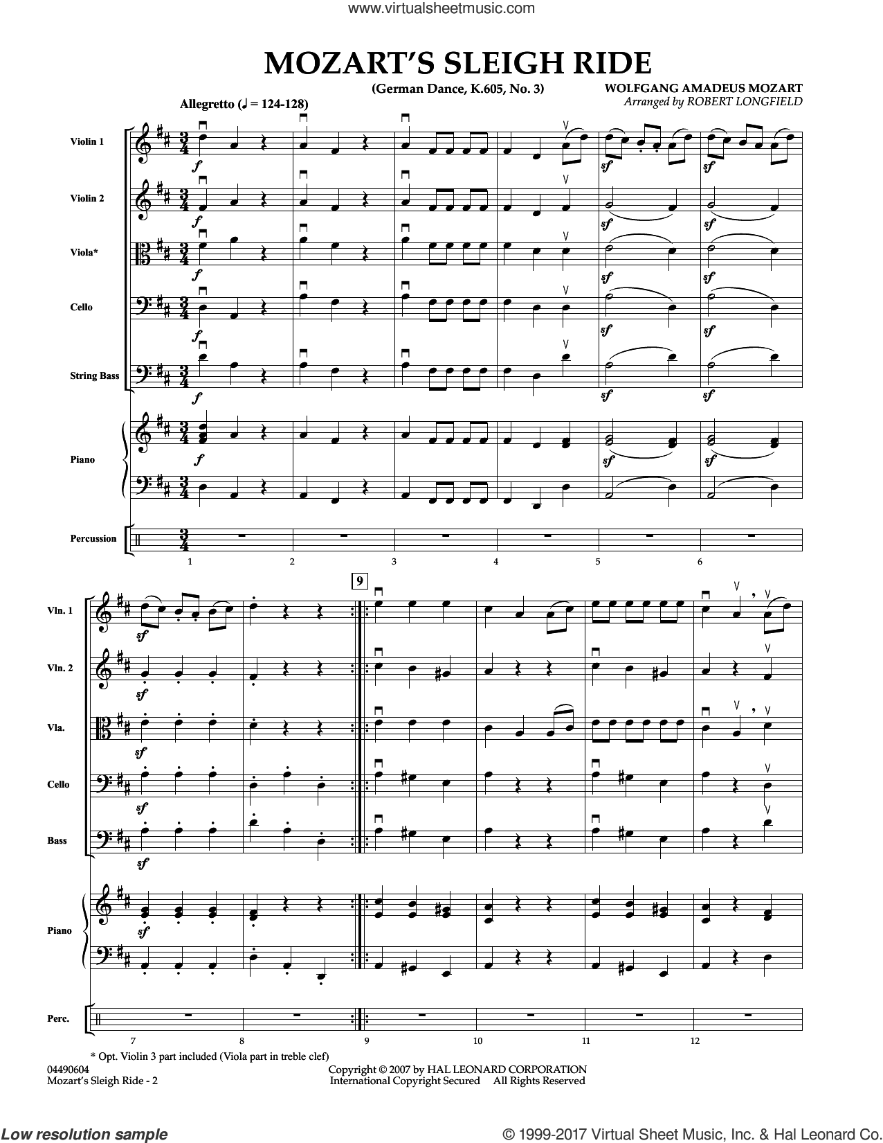 Mozart's Sleigh Ride (German Dance, K.605, No.3) (COMPLETE) sheet music for orchestra by Wolfgang Amadeus Mozart and Robert Longfield, classical score, intermediate skill level