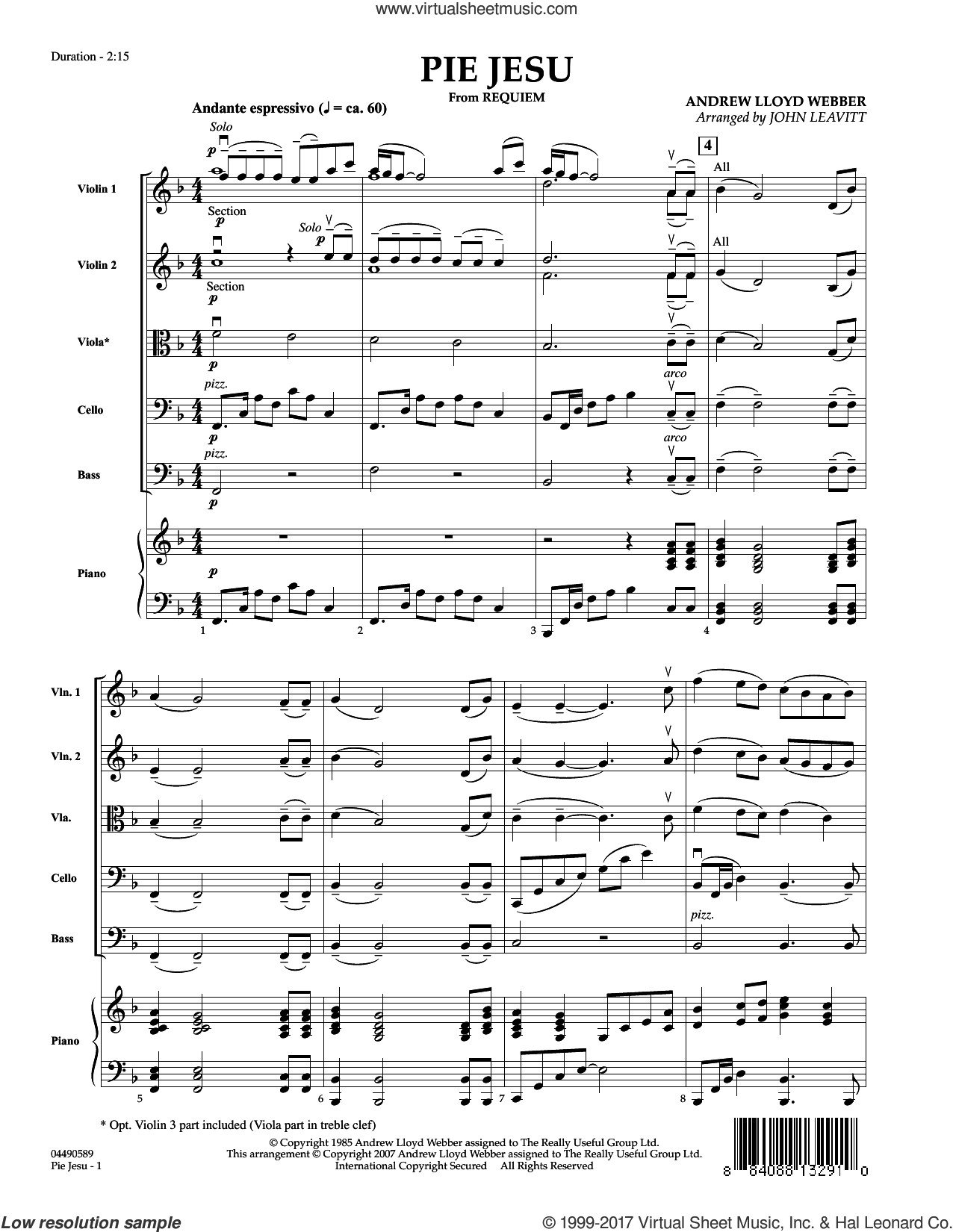 Pie Jesu (from Requiem) (COMPLETE) sheet music for orchestra by Andrew Lloyd Webber, John Leavitt and Sarah Brightman, intermediate. Score Image Preview.