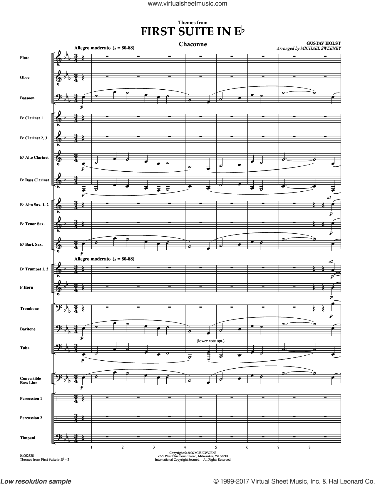 First Suite In E Flat, Themes From (COMPLETE) sheet music for concert band by Michael Sweeney and Gustav Holst, classical score, intermediate. Score Image Preview.