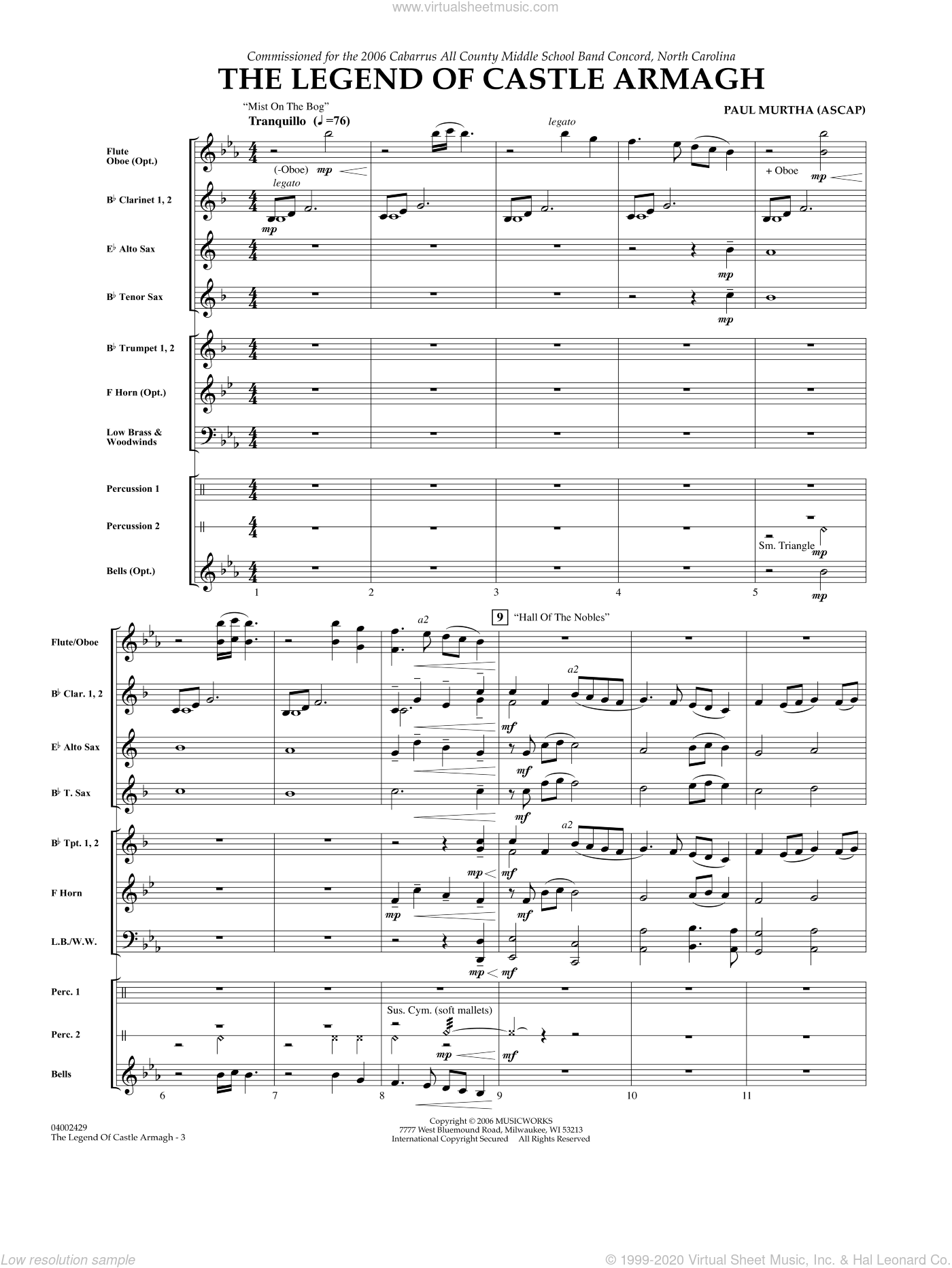 The Legend of Castle Armagh sheet music for concert band (full score) by Paul Murtha