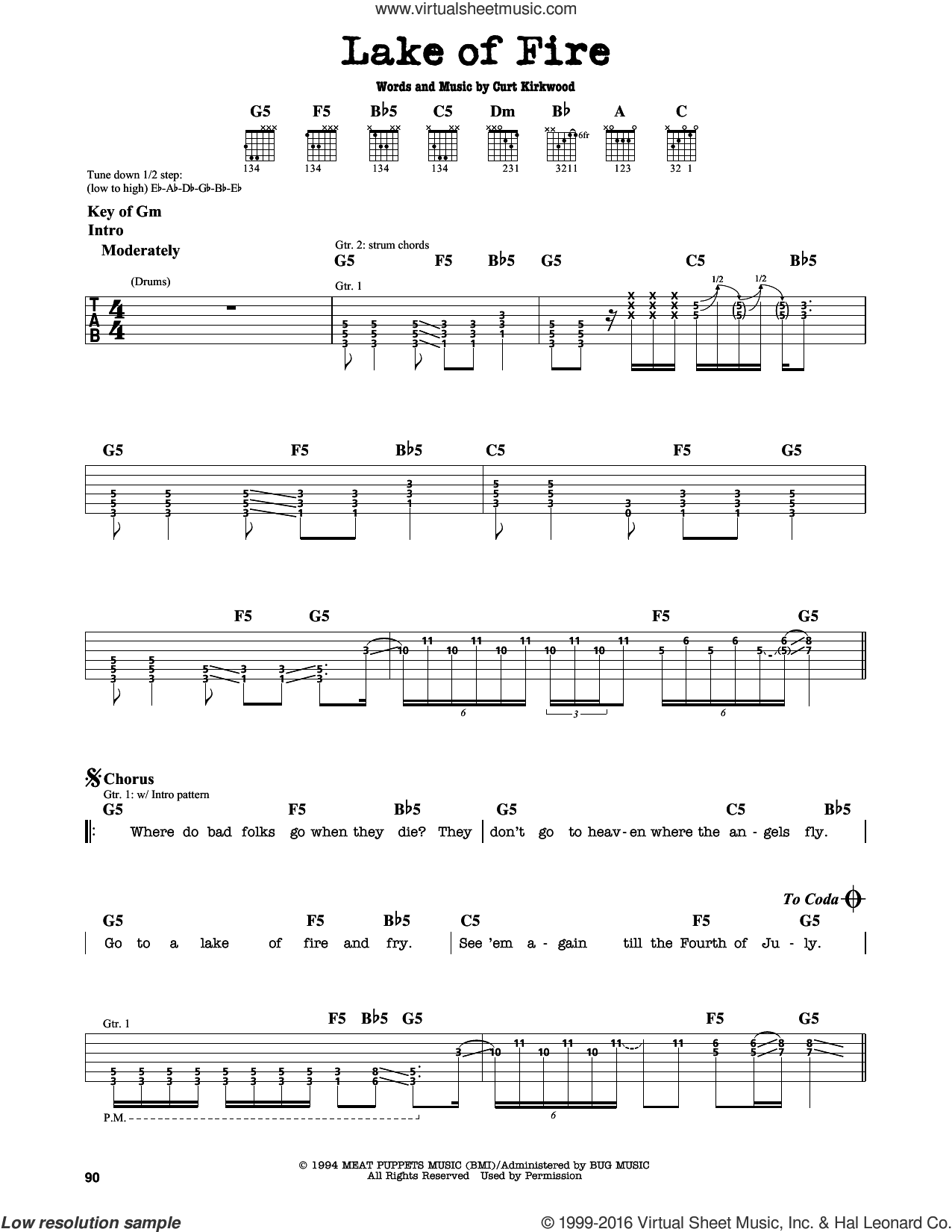 Lake Of Fire sheet music for guitar solo (lead sheet) by Nirvana and Curt Kirkwood, intermediate guitar (lead sheet)