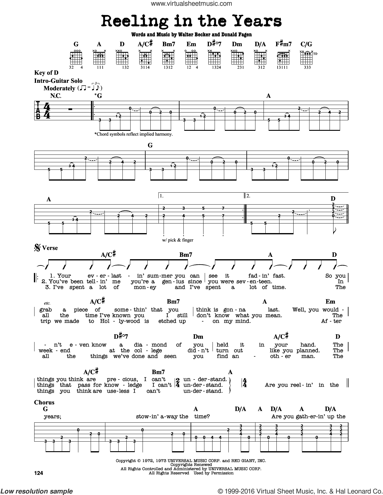 Reeling In The Years sheet music for guitar solo (lead sheet) by Walter Becker and Donald Fagen. Score Image Preview.