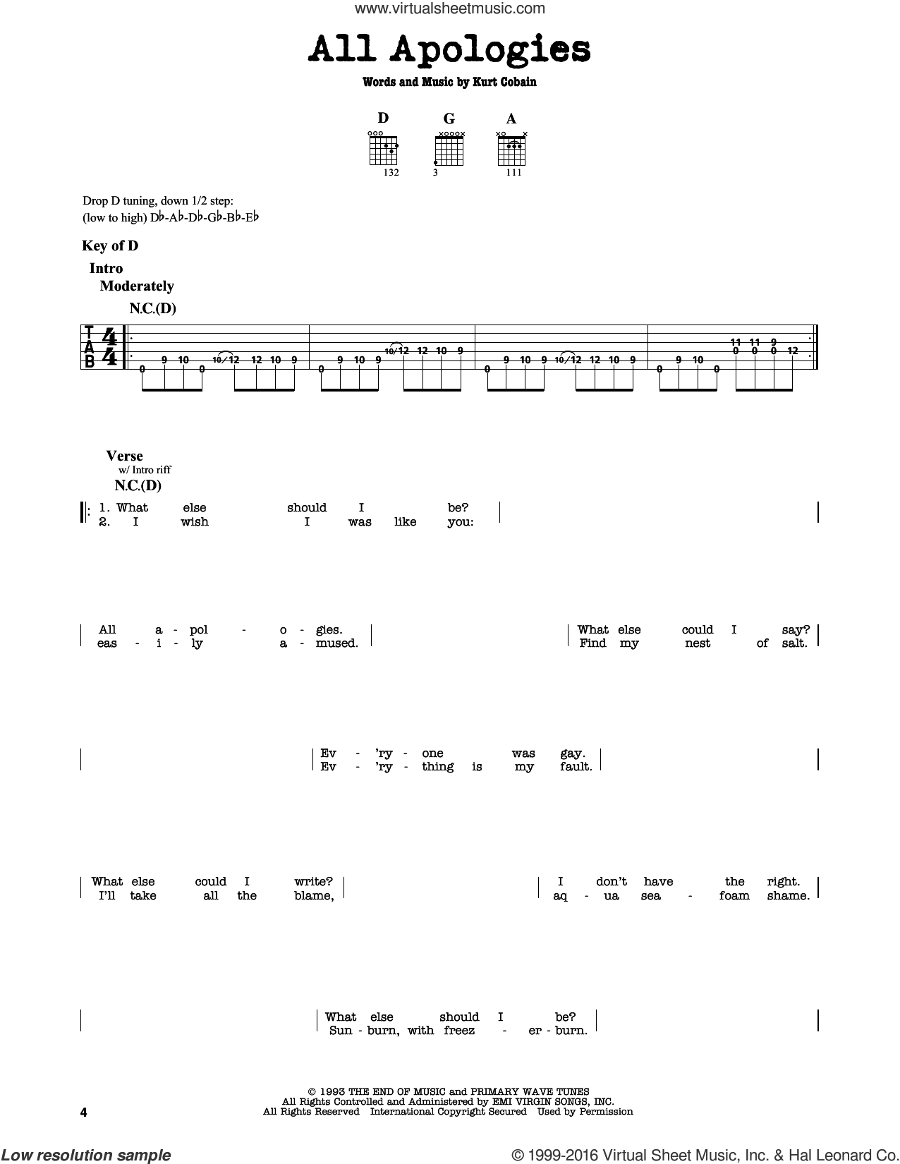All Apologies sheet music for guitar solo (lead sheet) by Nirvana and Kurt Cobain, intermediate guitar (lead sheet)