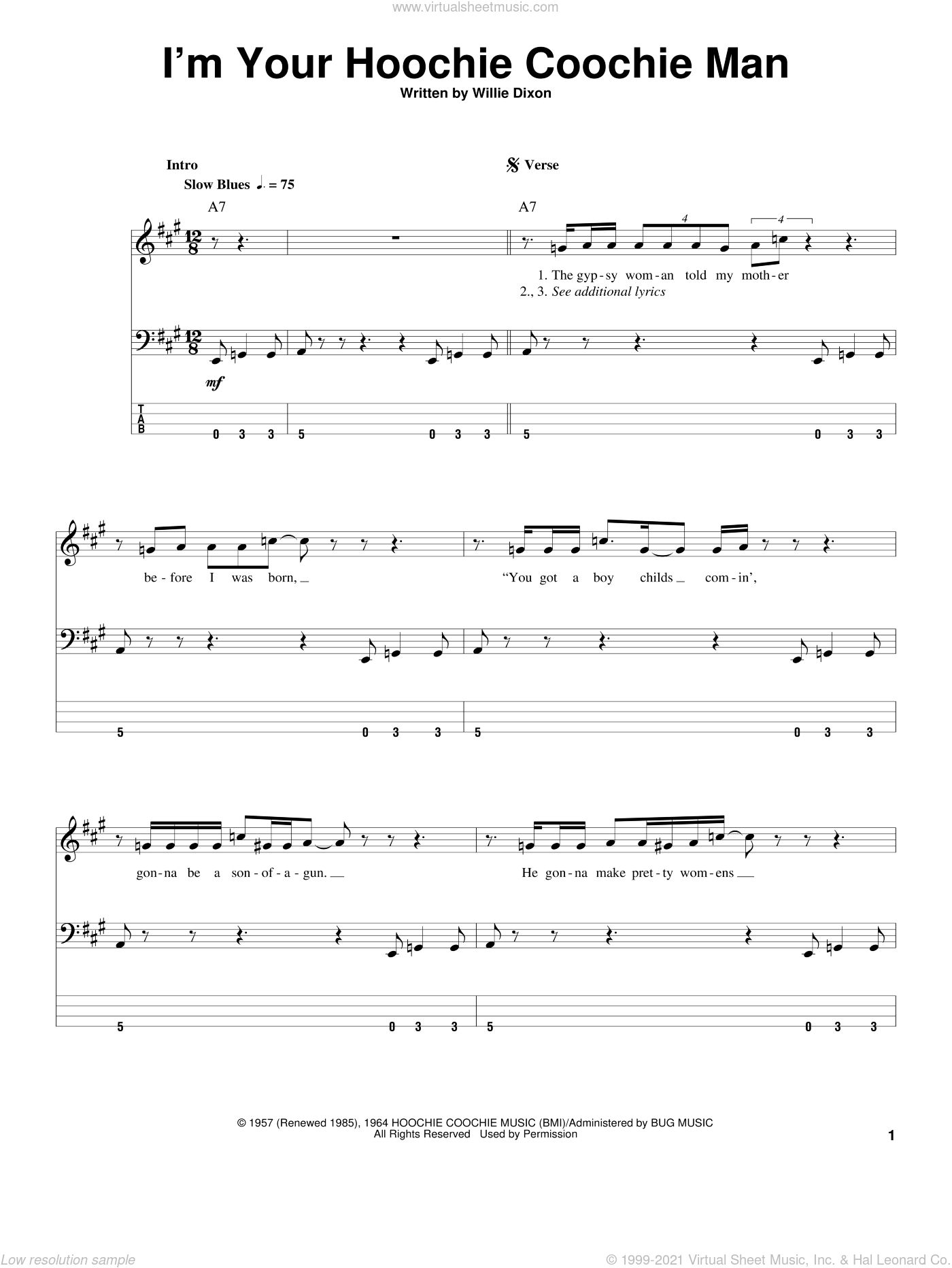 I'm Your Hoochie Coochie Man sheet music for bass (tablature) (bass guitar) by Muddy Waters, Jimi Hendrix and Willie Dixon. Score Image Preview.
