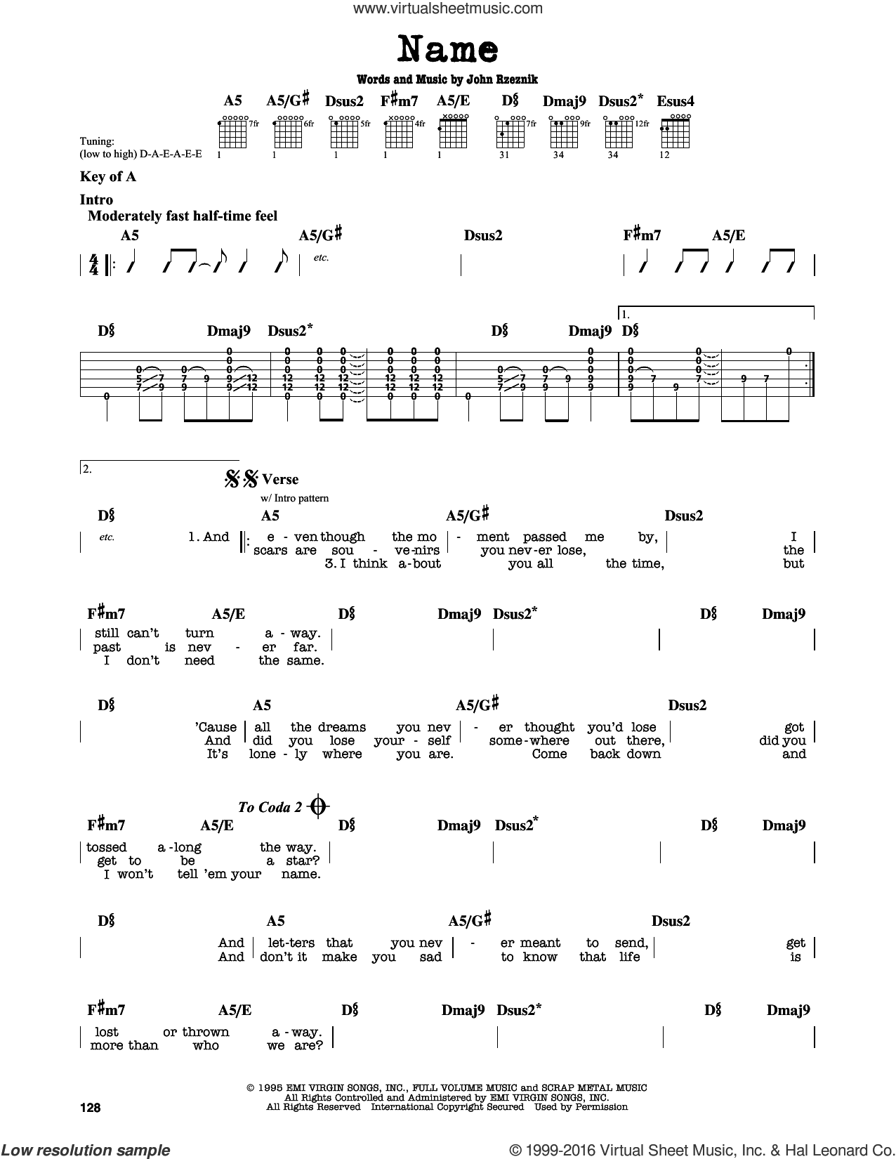 Name sheet music for guitar solo (lead sheet) by Goo Goo Dolls and John Rzeznik, intermediate guitar (lead sheet)