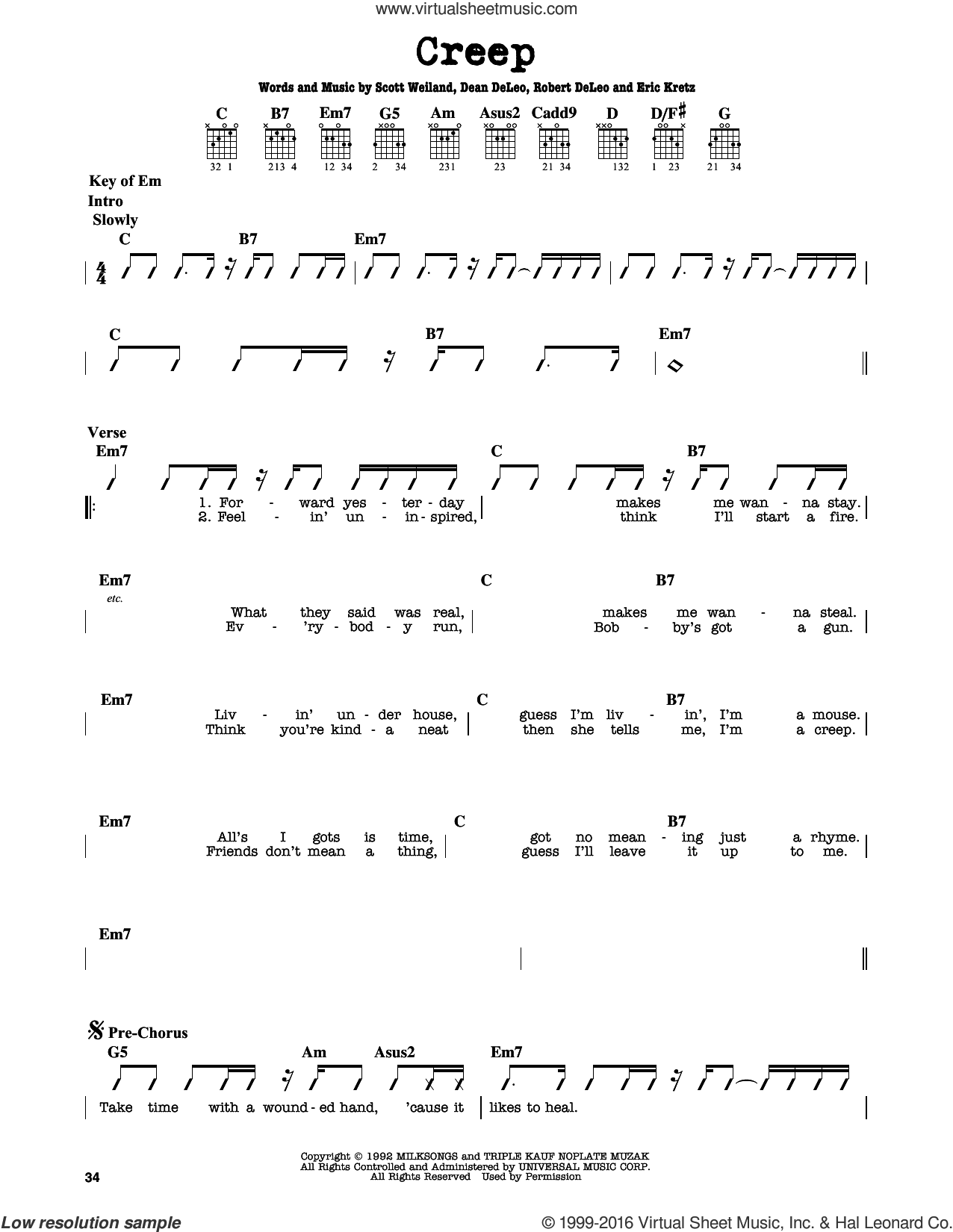 Creep sheet music for guitar solo (lead sheet) by Stone Temple Pilots, Dean DeLeo, Eric Kretz, Robert DeLeo and Scott Weiland, intermediate guitar (lead sheet). Score Image Preview.