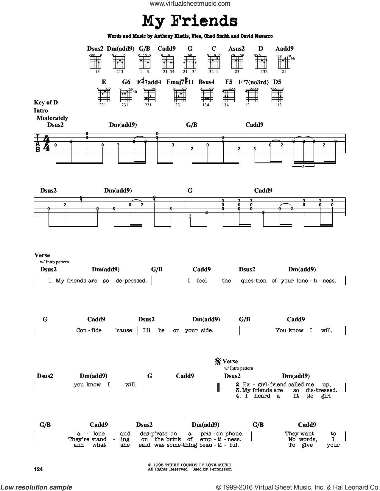 My Friends sheet music for guitar solo (lead sheet) by Flea, Red Hot Chili Peppers and David Navarro. Score Image Preview.