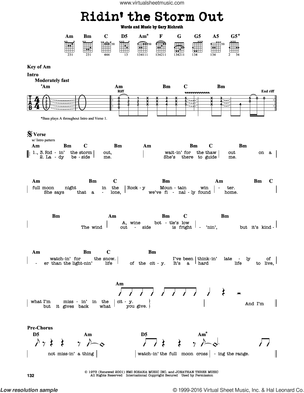 Ridin' The Storm Out sheet music for guitar solo (lead sheet) by REO Speedwagon, intermediate guitar (lead sheet). Score Image Preview.