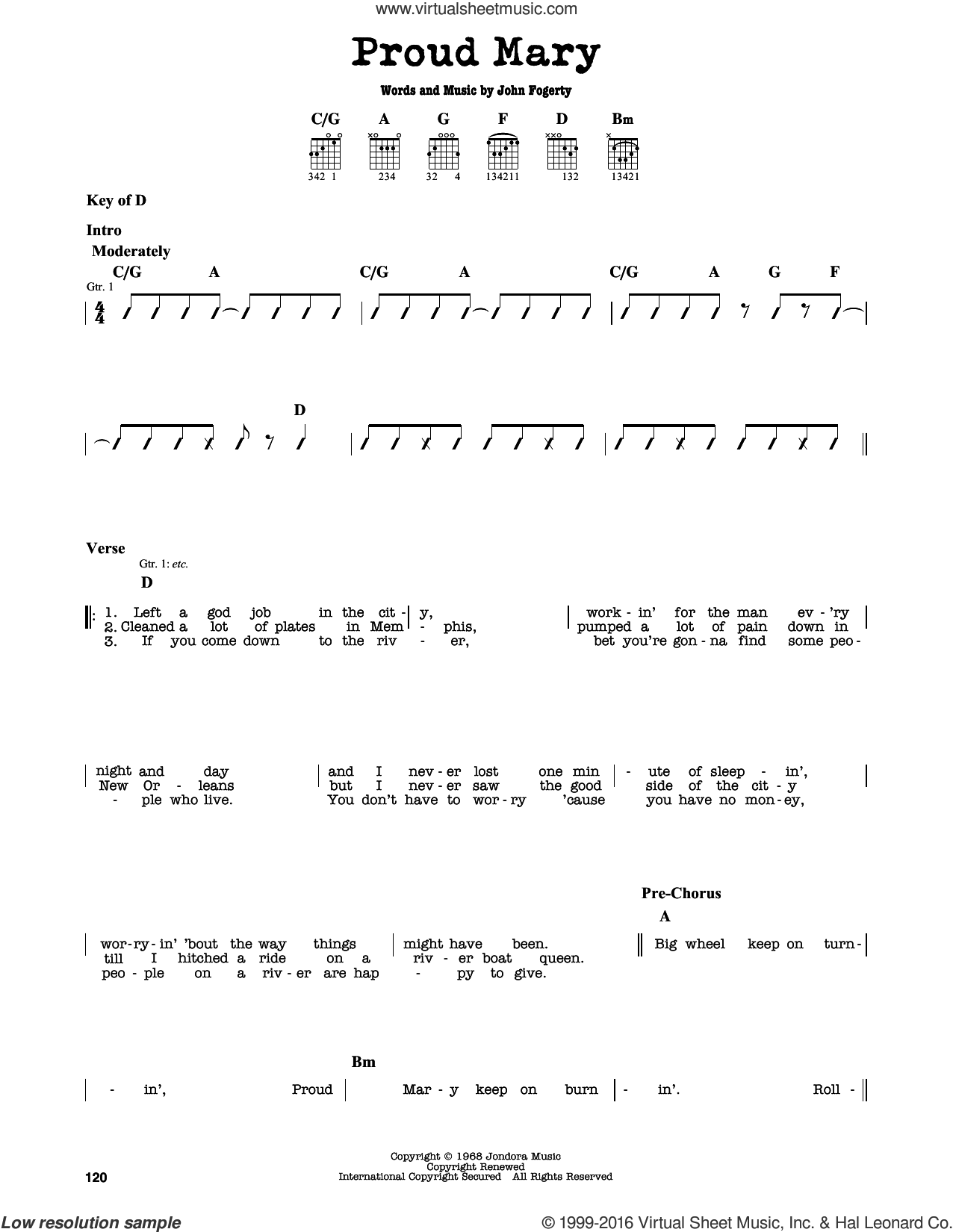 Proud Mary sheet music for guitar solo (lead sheet) by John Fogerty and Creedence Clearwater Revival. Score Image Preview.