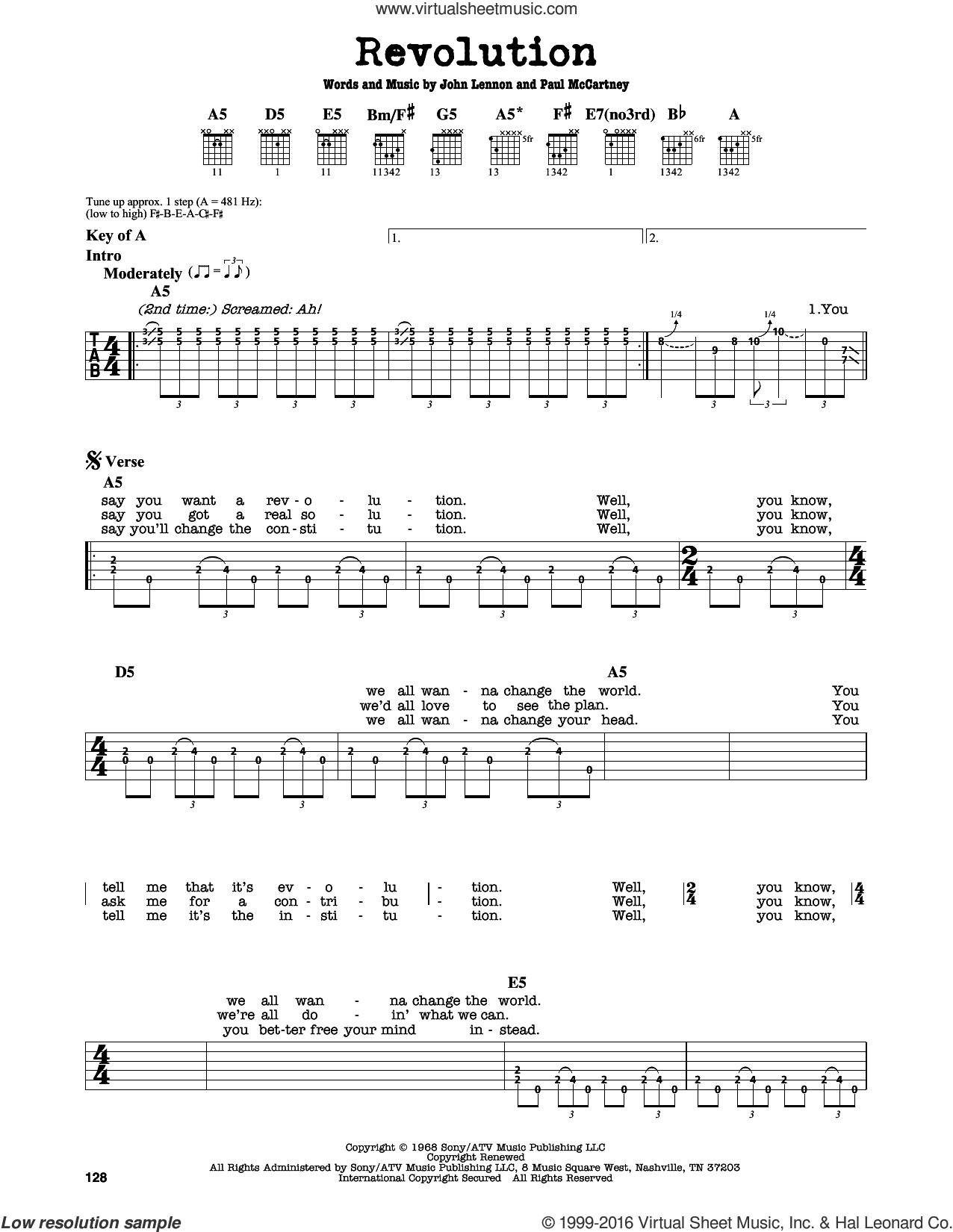 Revolution sheet music for guitar solo (lead sheet) by The Beatles, John Lennon and Paul McCartney, intermediate guitar (lead sheet)