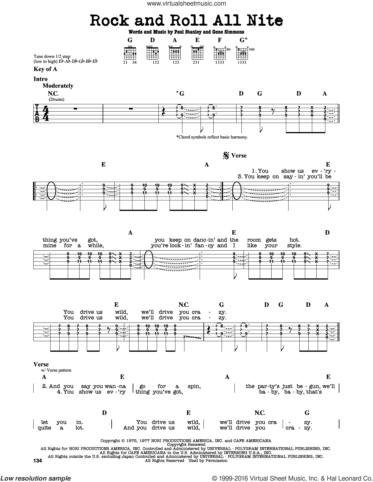 Rock And Roll All Nite sheet music for guitar solo (lead sheet) by KISS, Gene Simmons and Paul Stanley, intermediate guitar (lead sheet). Score Image Preview.