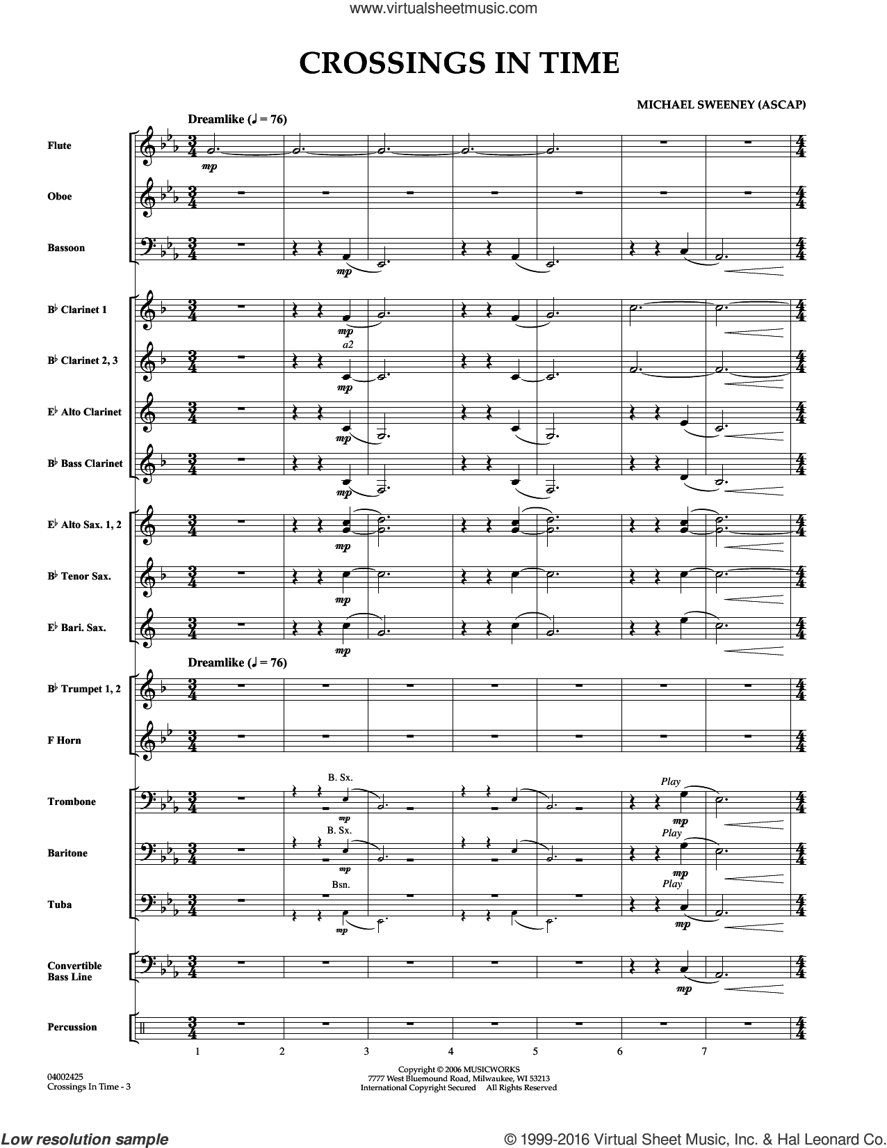 Crossings In Time (COMPLETE) sheet music for concert band by Michael Sweeney, intermediate. Score Image Preview.