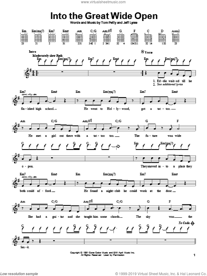 Into The Great Wide Open sheet music for guitar solo (chords) by Jeff Lynne and Tom Petty And The Heartbreakers and Tom Petty. Score Image Preview.