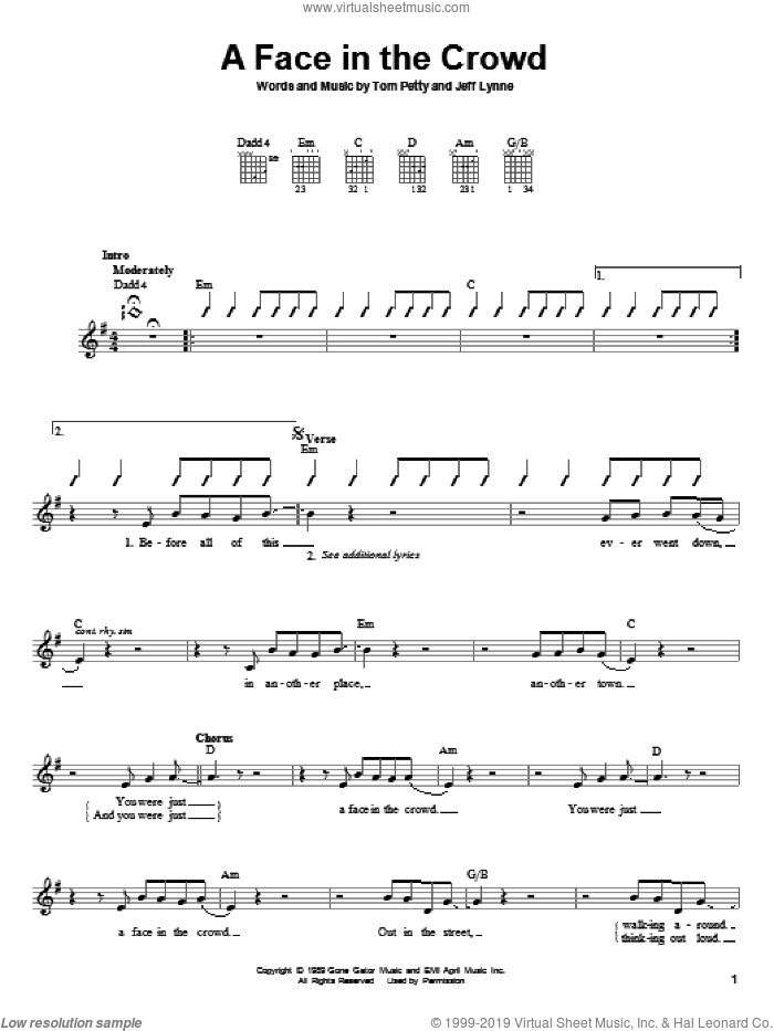 A Face In The Crowd sheet music for guitar solo (chords) by Jeff Lynne and Tom Petty. Score Image Preview.