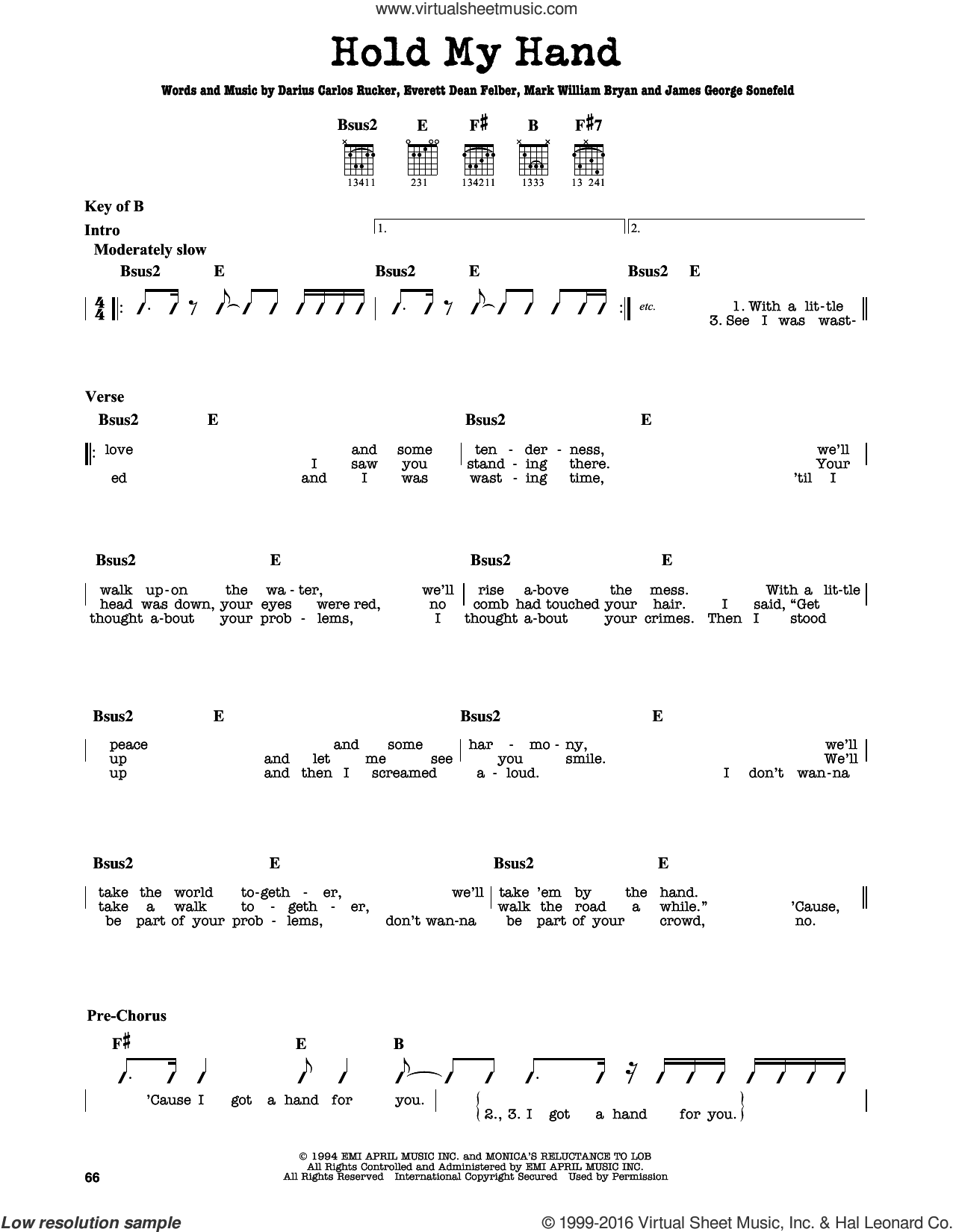 Hold My Hand sheet music for guitar solo (lead sheet) by Hootie & The Blowfish, Darius Carlos Rucker, Everett Dean Felber, James George Sonefeld and Mark William Bryan, intermediate guitar (lead sheet)