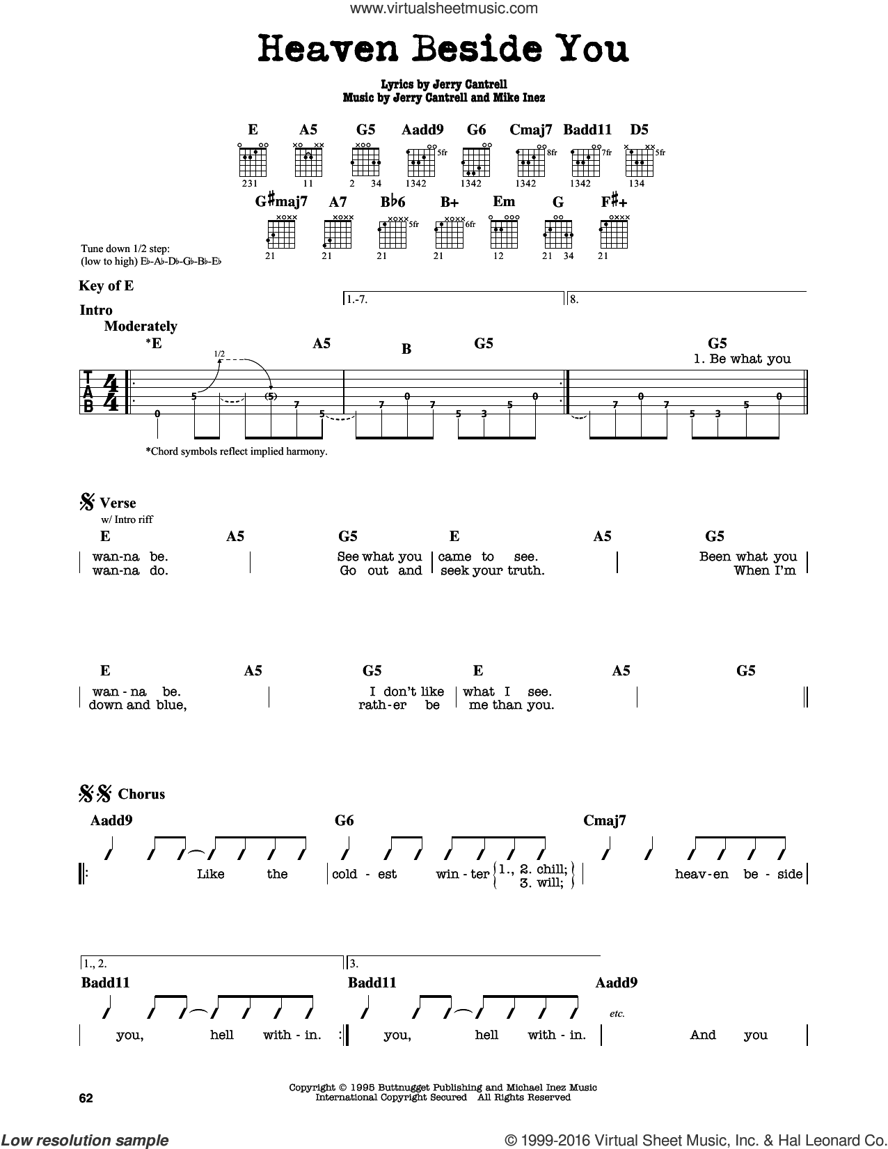 Heaven Beside You sheet music for guitar solo (lead sheet) by Mike Inez, Alice In Chains and Jerry Cantrell. Score Image Preview.