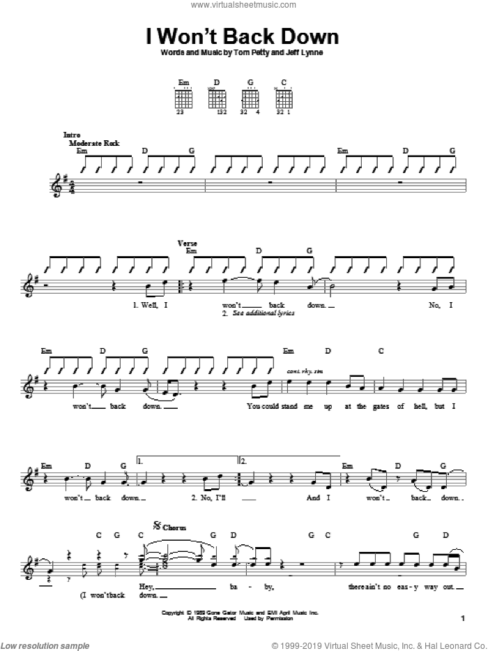 I Won't Back Down sheet music for guitar solo (chords) by Jeff Lynne and Tom Petty. Score Image Preview.