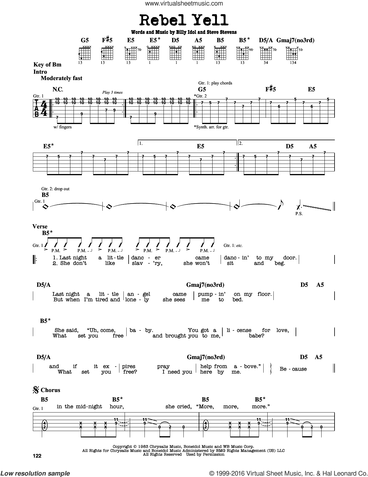 Rebel Yell sheet music for guitar solo (lead sheet) by Billy Idol and Steve Stevens, intermediate guitar (lead sheet)