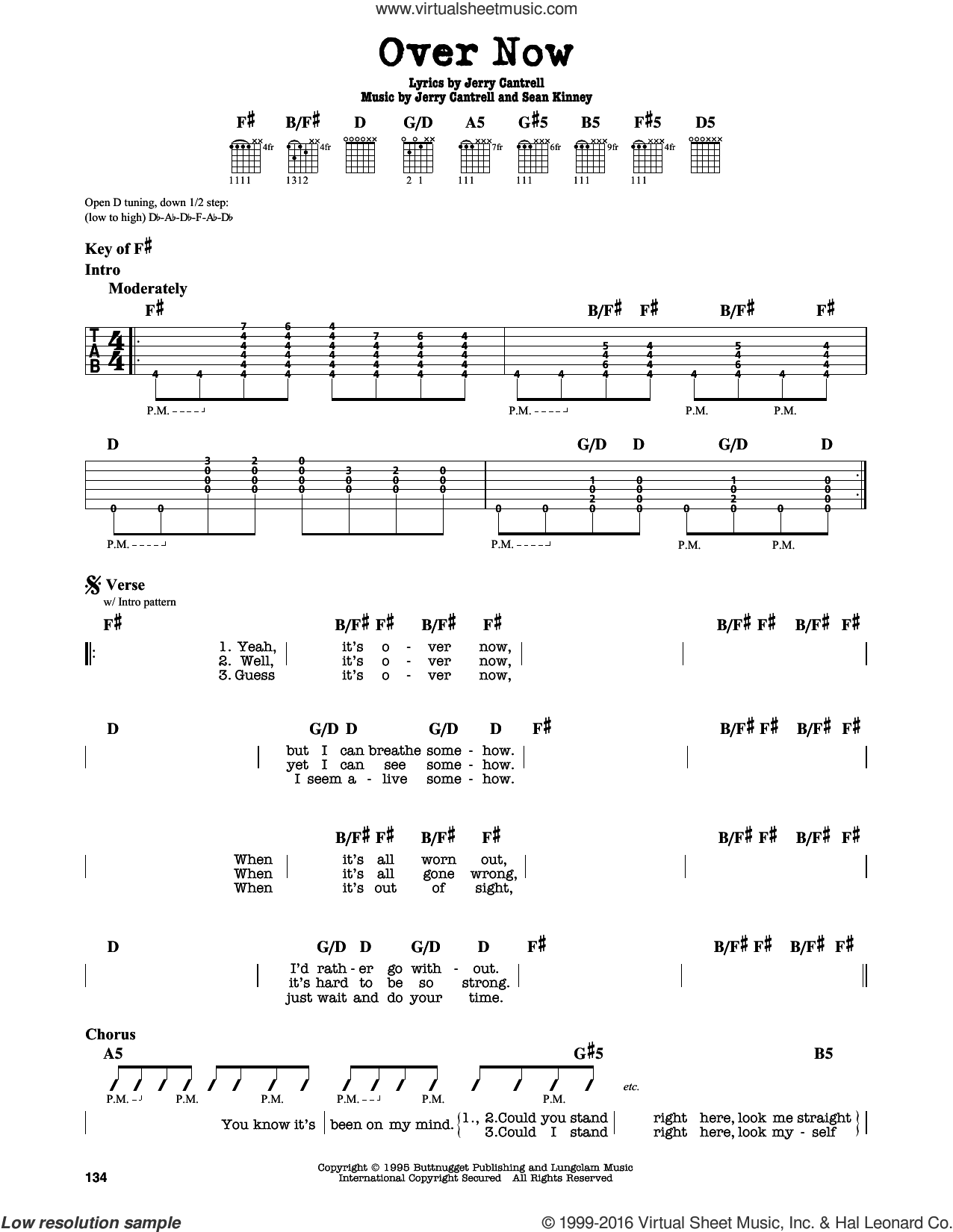 Over Now sheet music for guitar solo (lead sheet) by Sean Kinney, Alice In Chains and Jerry Cantrell. Score Image Preview.