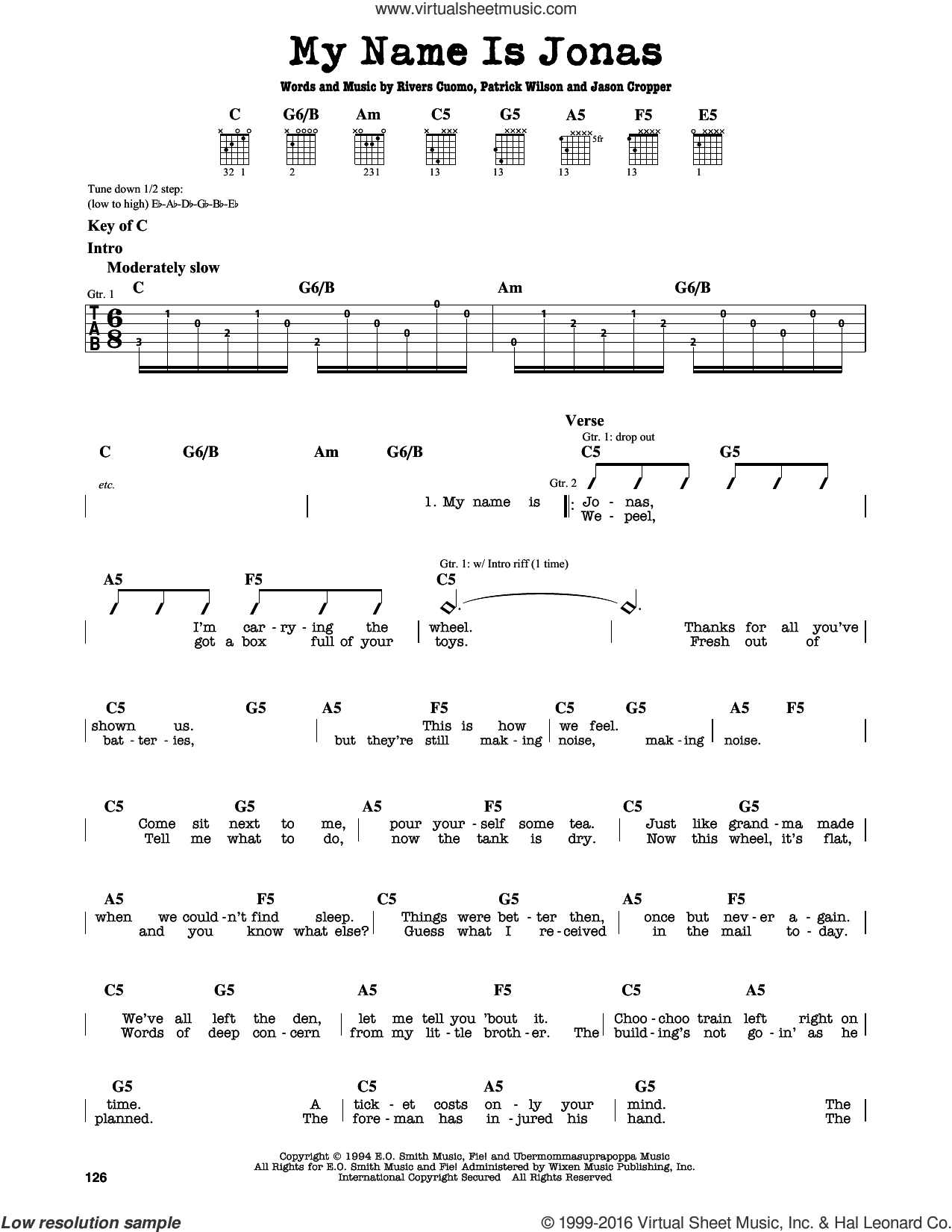 My Name Is Jonas sheet music for guitar solo (lead sheet) by Weezer and Patrick Wilson. Score Image Preview.