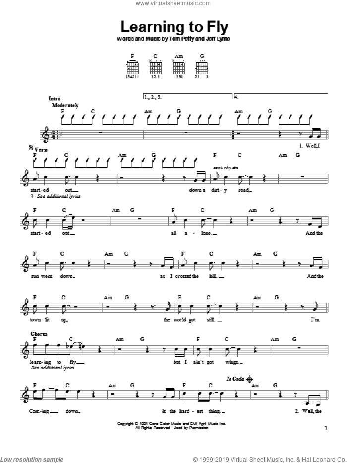 Learning To Fly sheet music for guitar solo (chords) by Jeff Lynne and Tom Petty And The Heartbreakers and Tom Petty. Score Image Preview.