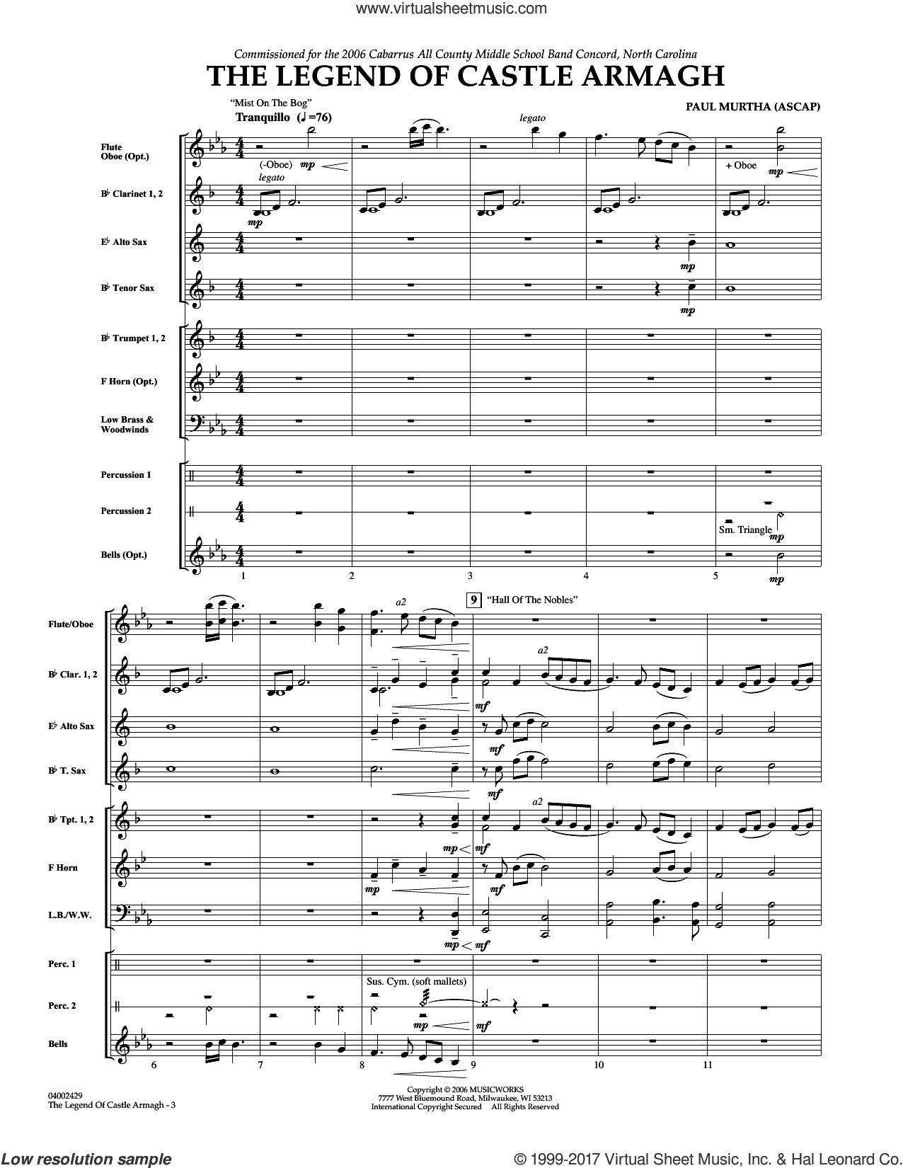 The Legend of Castle Armagh (COMPLETE) sheet music for concert band by Paul Murtha, intermediate skill level