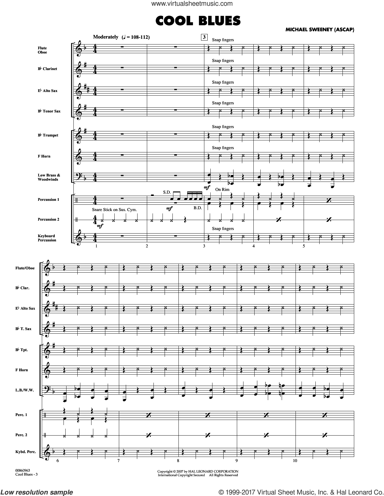 Cool Blues (COMPLETE) sheet music for concert band by Michael Sweeney, intermediate